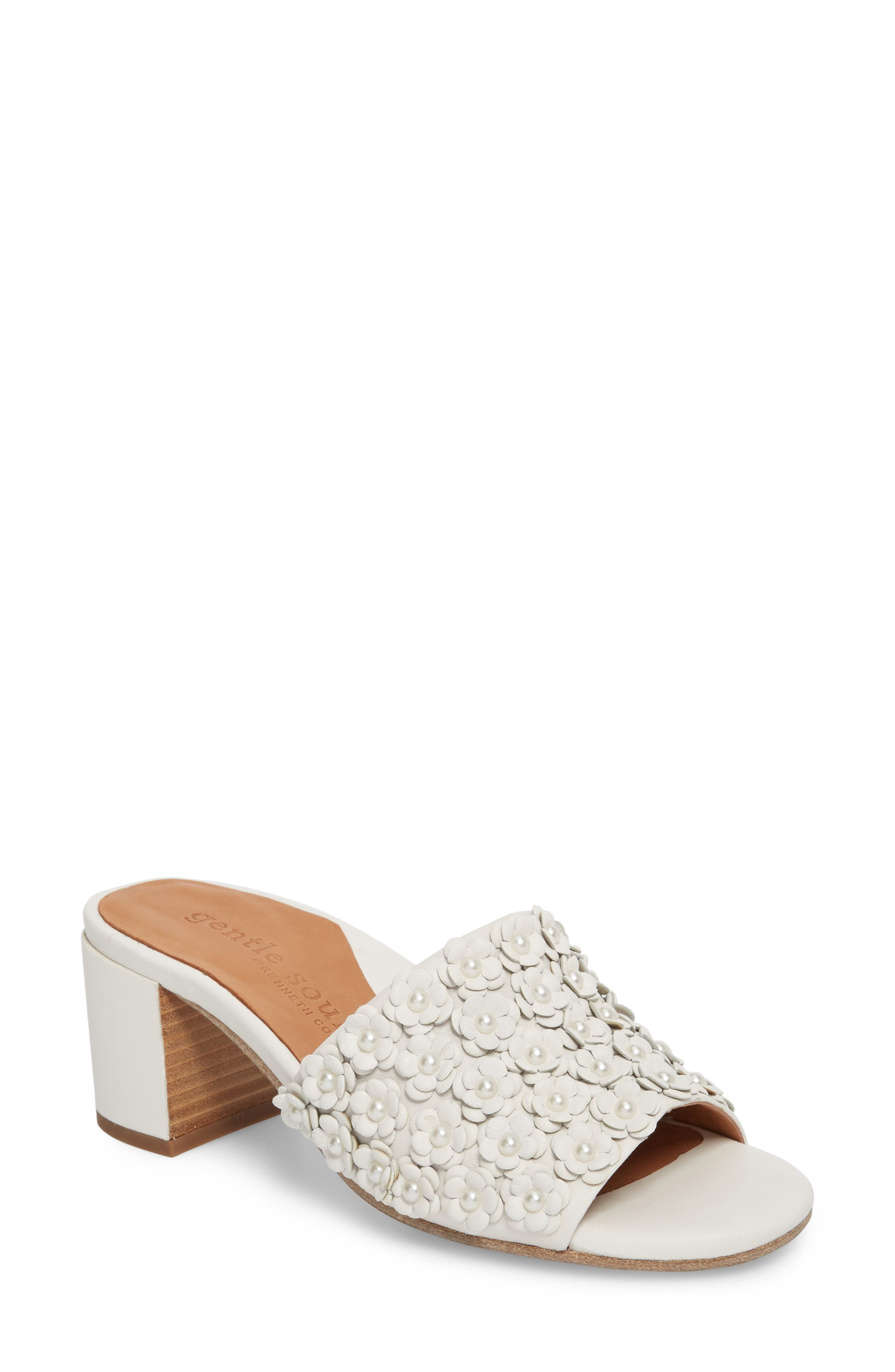 by Kenneth Cole Chantel Sandal,                             Main thumbnail 1, color,                             White Flowers Leather