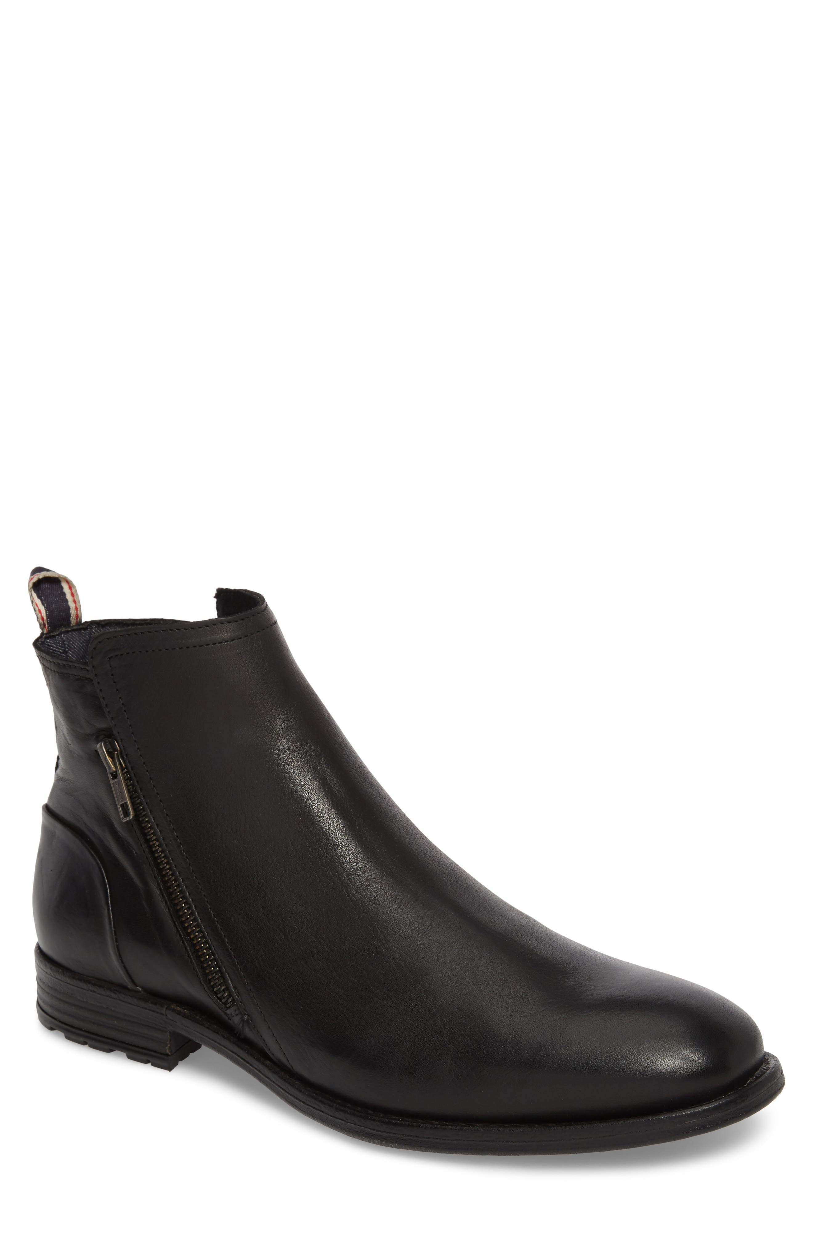 Gerone Zip Boot,                         Main,                         color, Black Leather Fabric