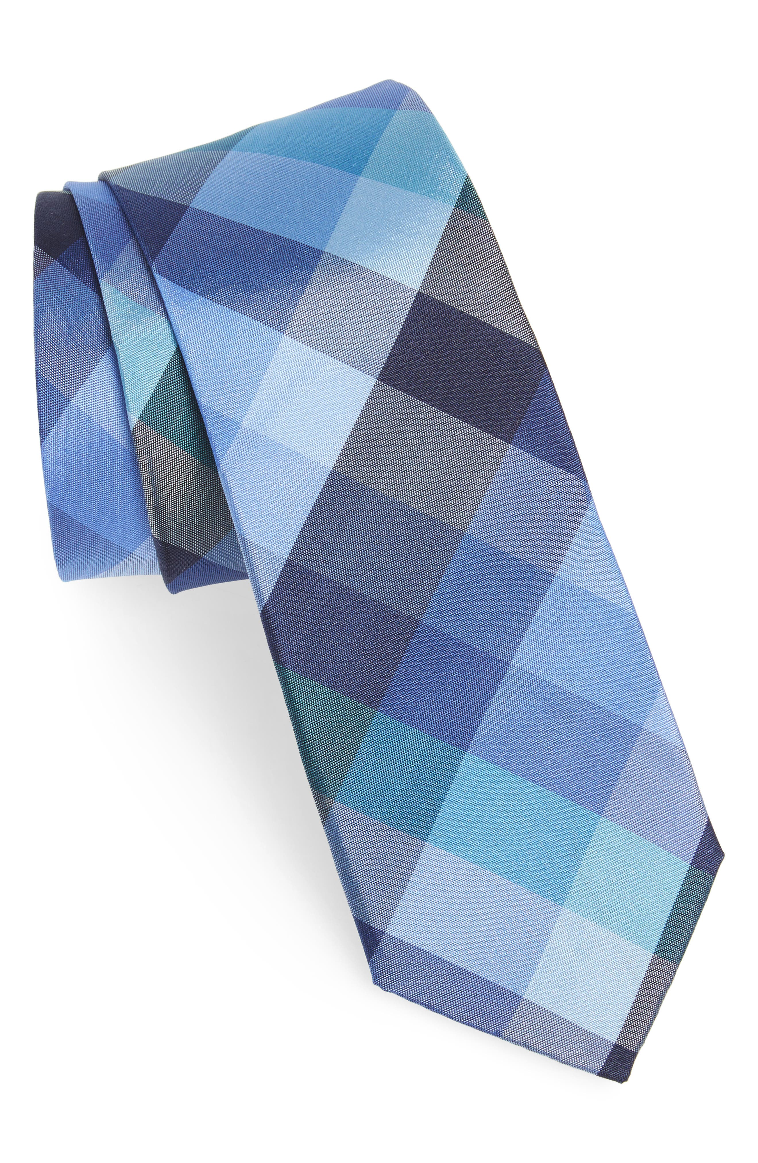 Autumn Check Silk Skinny Tie,                             Main thumbnail 1, color,                             Navy