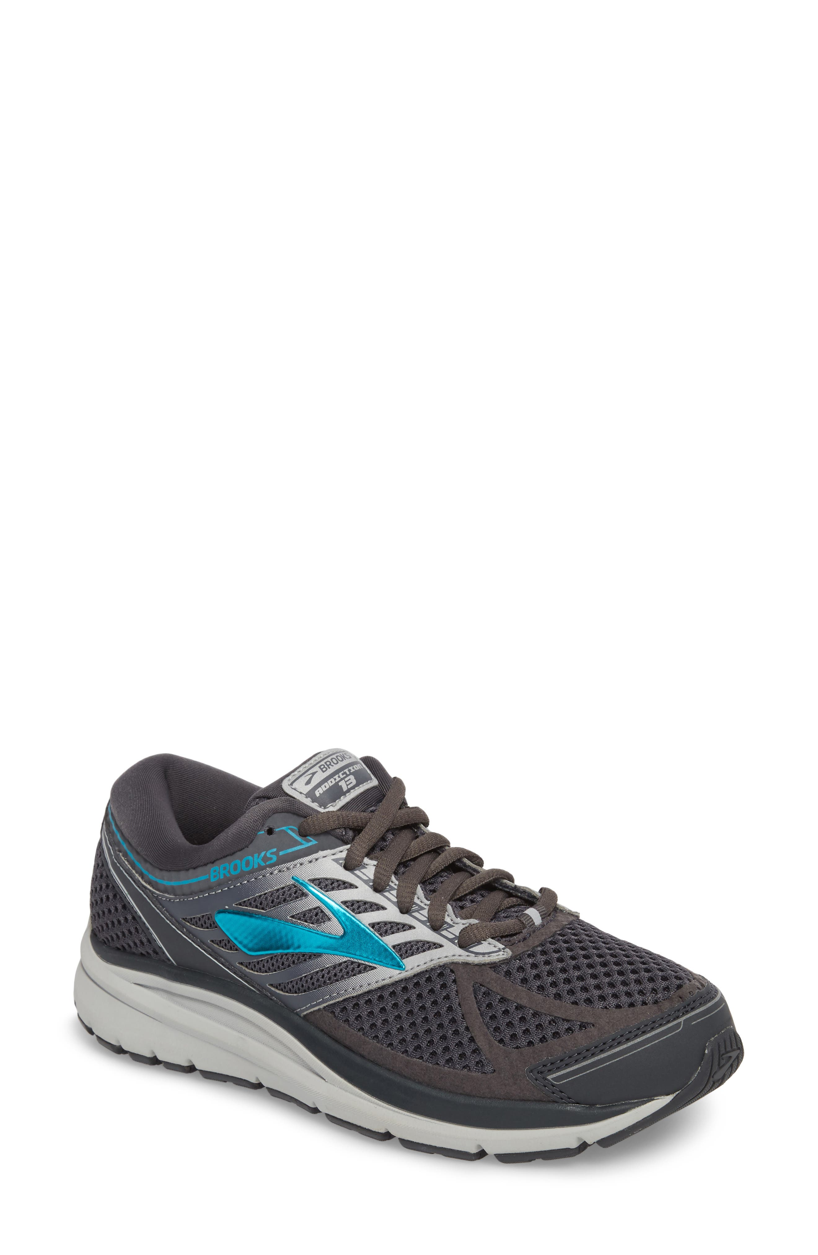 Addiction 13 Running Shoe,                         Main,                         color, Ebony/ Silver/ Pagoda Blue