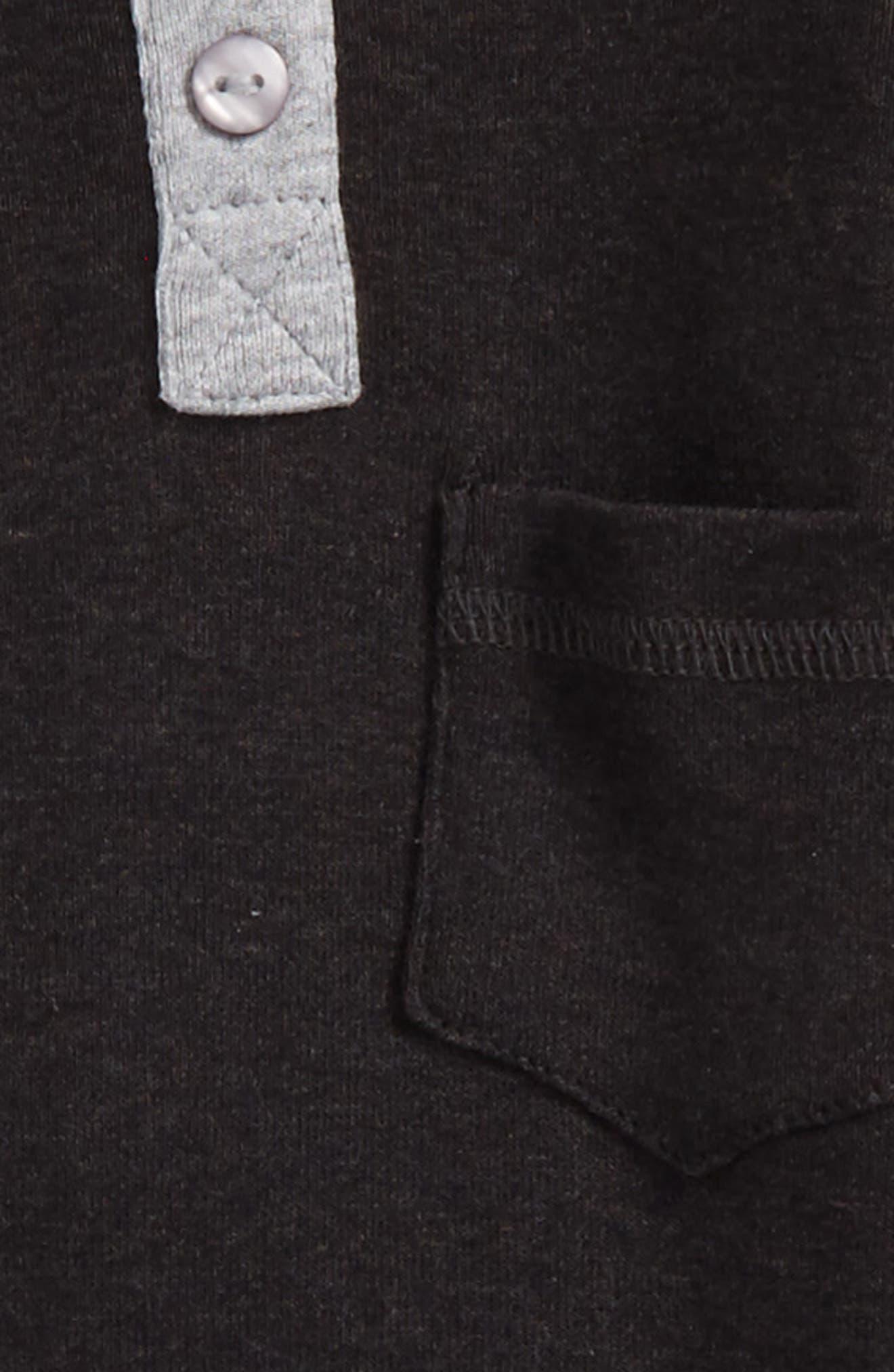 Organic Cotton Henley Romper,                             Alternate thumbnail 2, color,                             Black Heather/ Heather Grey