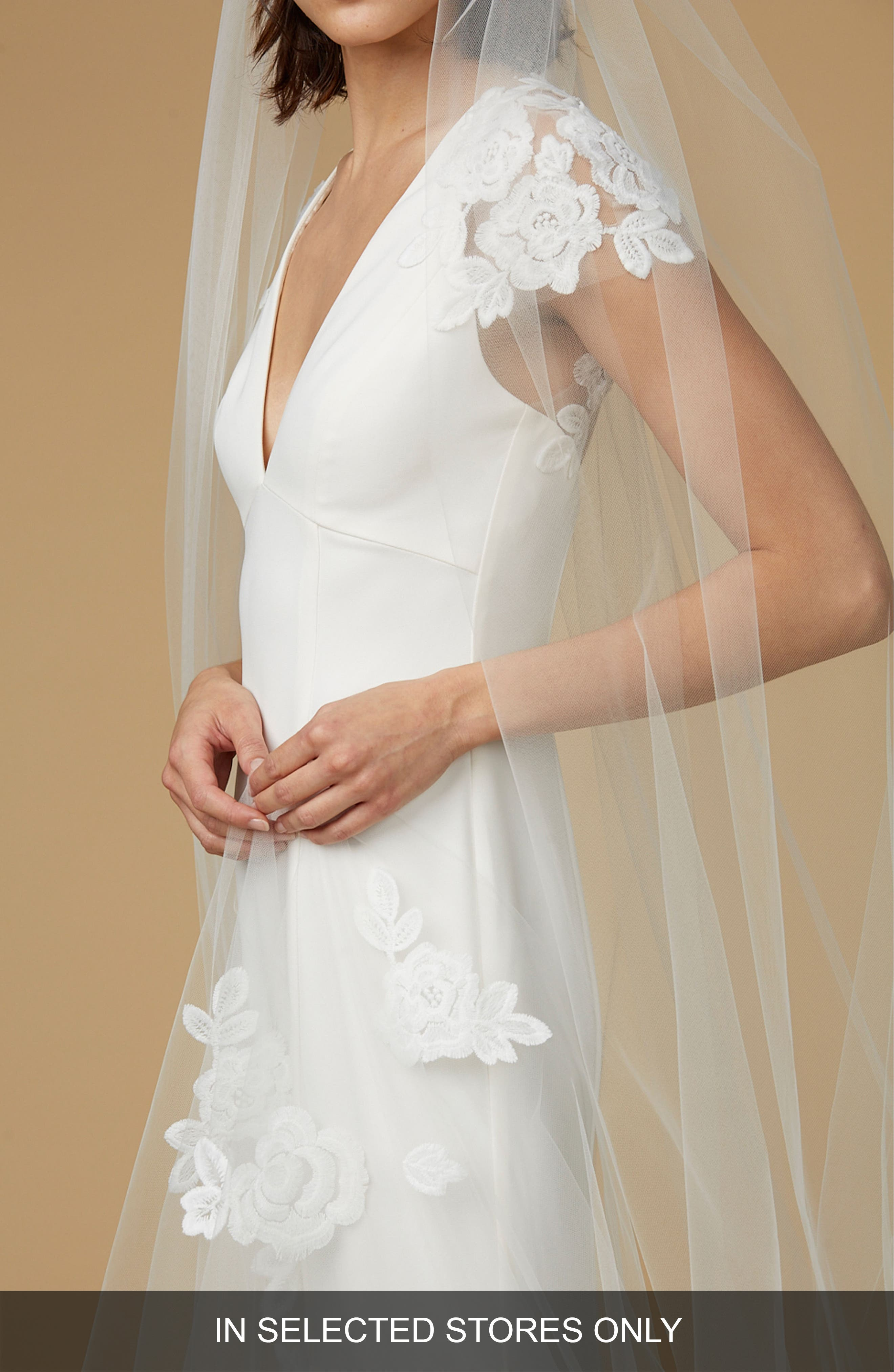 Floral Cathedral Veil,                         Main,                         color, Ivory