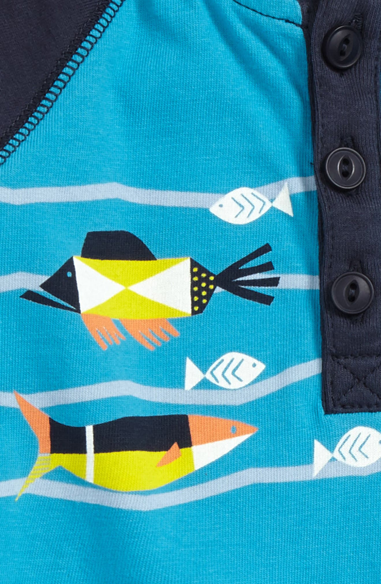 Alternate Image 2  - Tea Collection Tropical Henley Romper (Baby Boys)