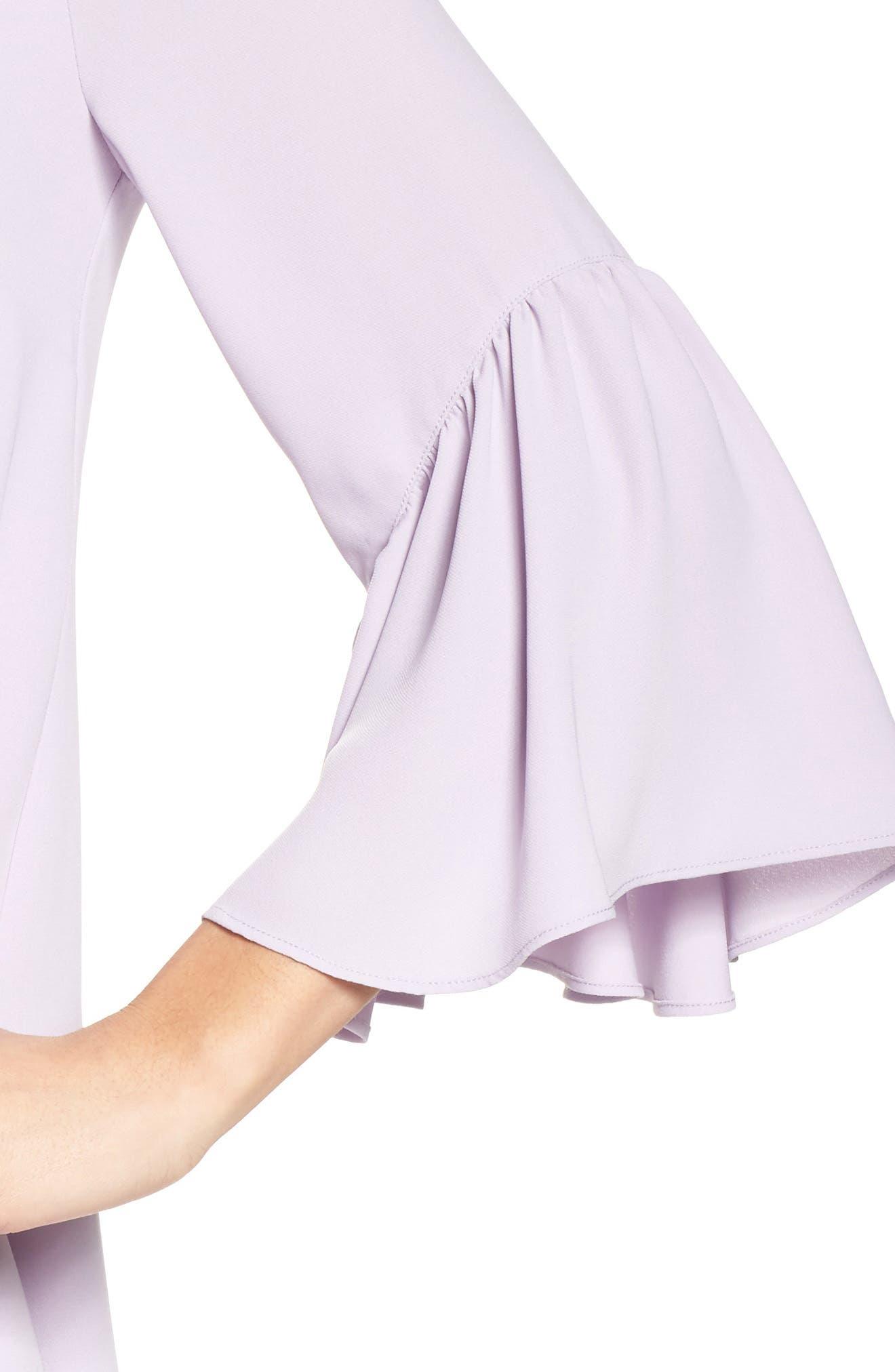 Bell Sleeve Shift Dress,                             Alternate thumbnail 4, color,                             Purple Petal