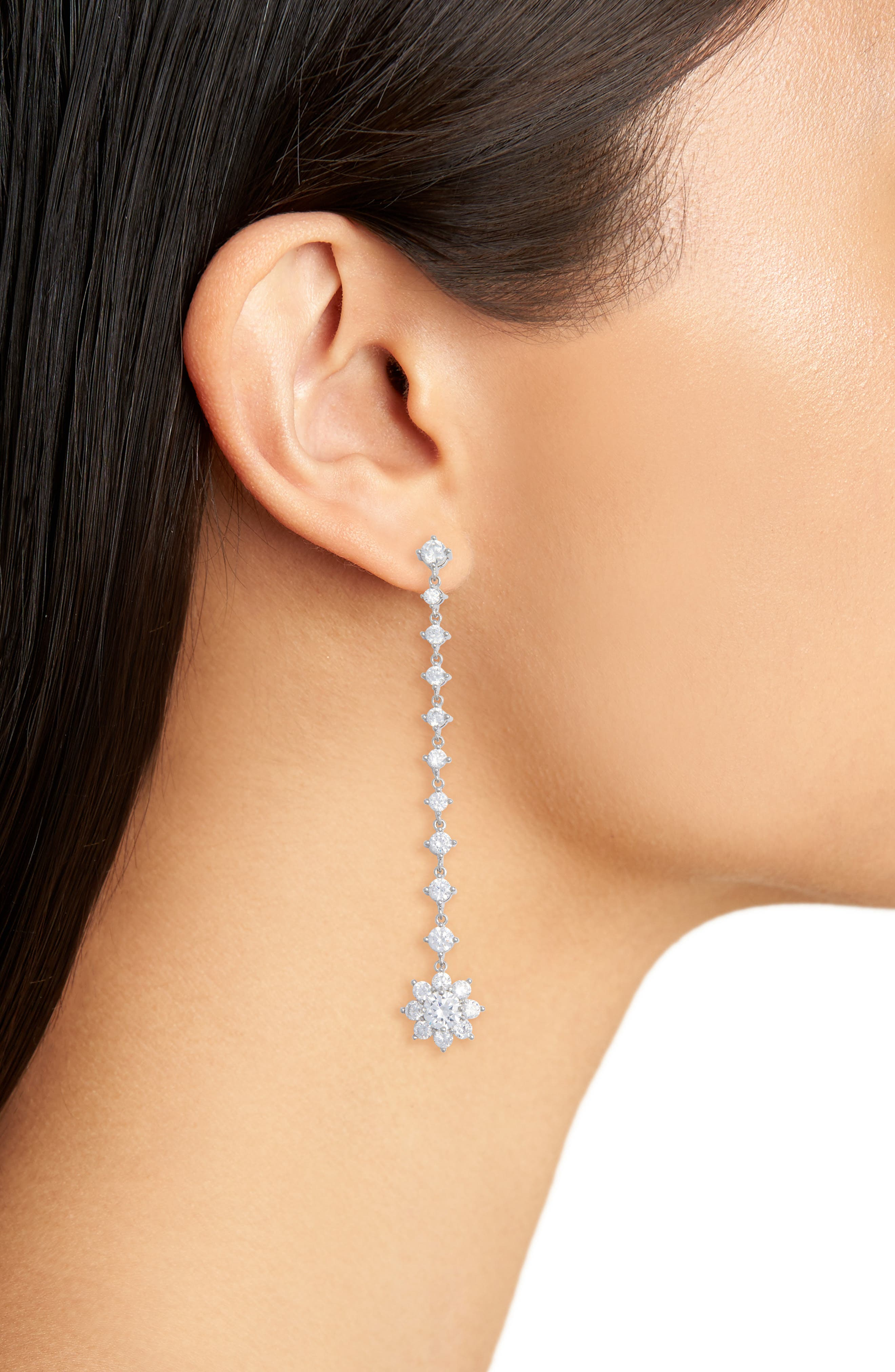 Small Flower Linear Drop Earrings,                             Alternate thumbnail 2, color,                             Silver/ White Cz