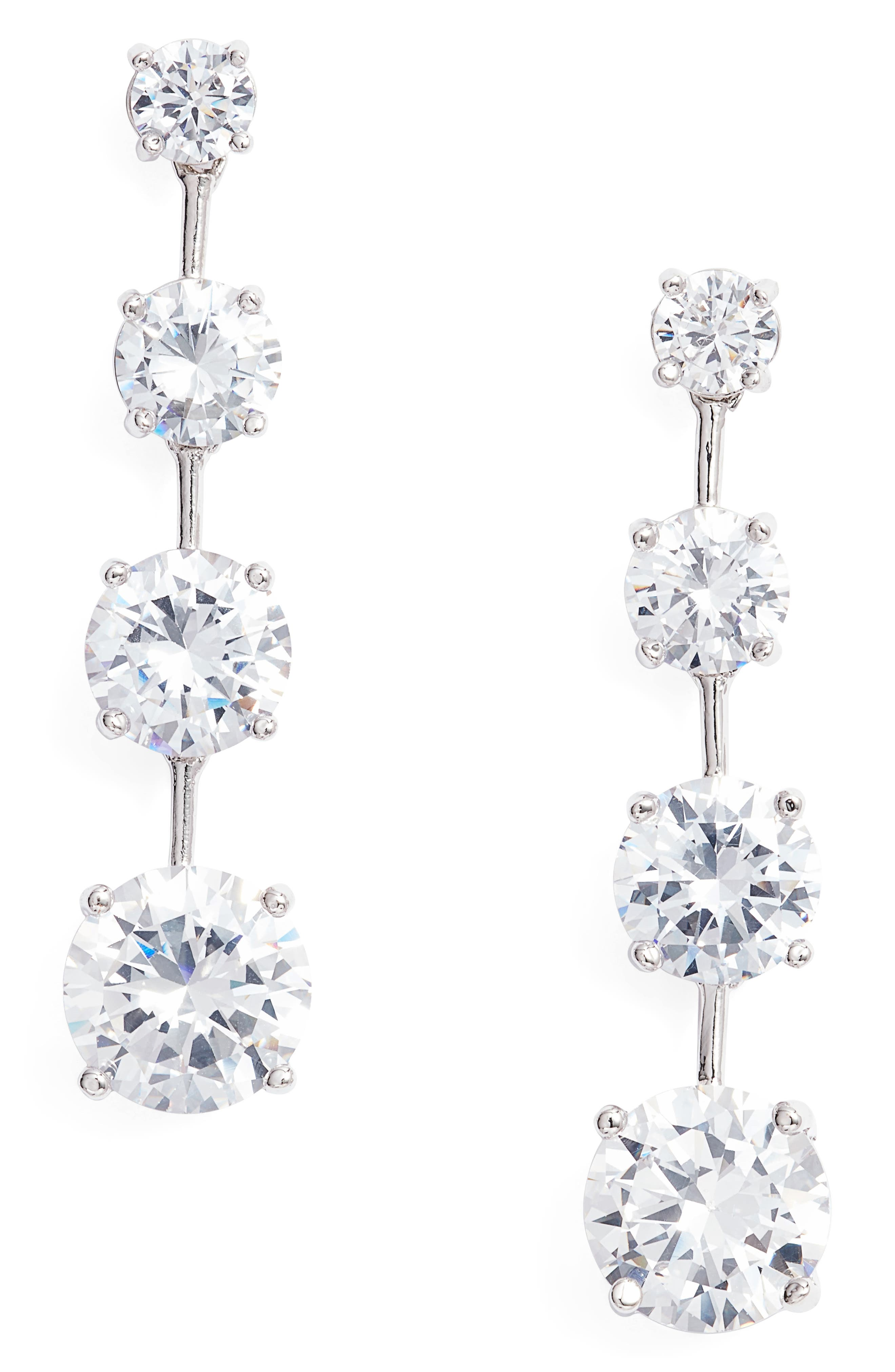 Graduated Cubic Zirconia Linear Drop Earrings,                             Main thumbnail 1, color,                             Silver/ White Cz