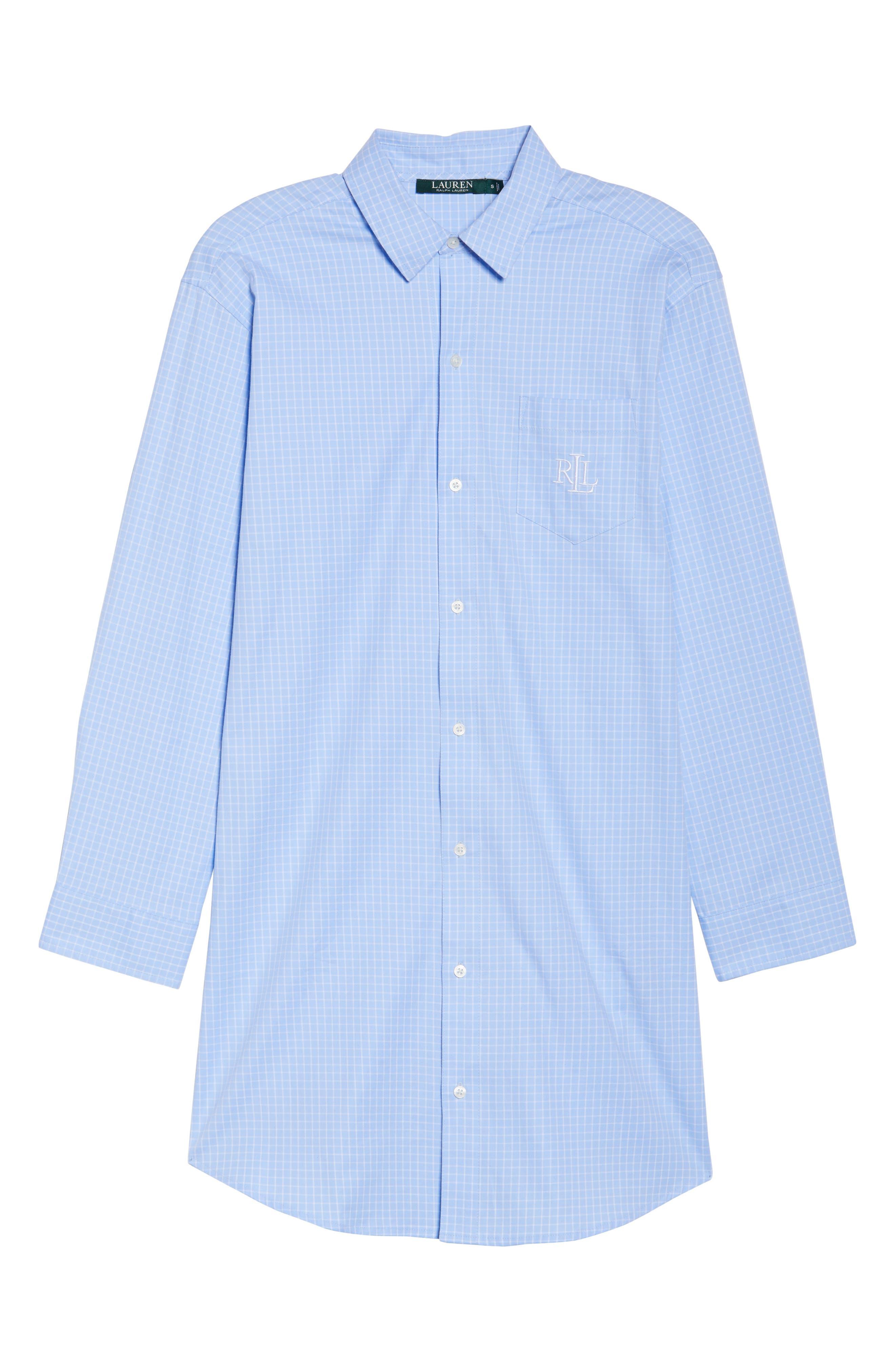 Alternate Image 4  - Lauren Ralph Lauren Stretch Cotton Sleep Shirt