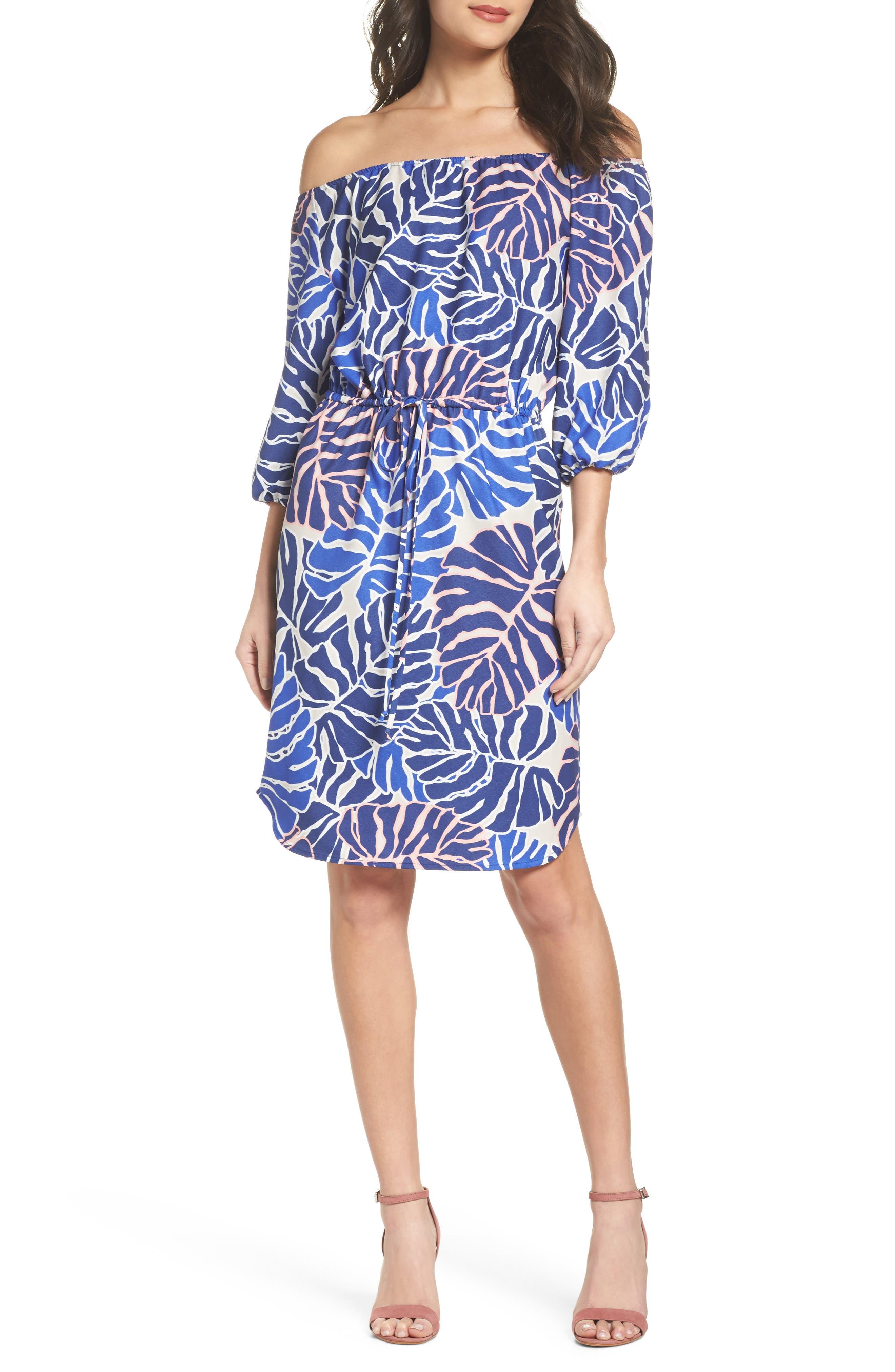 Leilani Off the Shoulder Dress,                             Main thumbnail 1, color,                             Palm Print