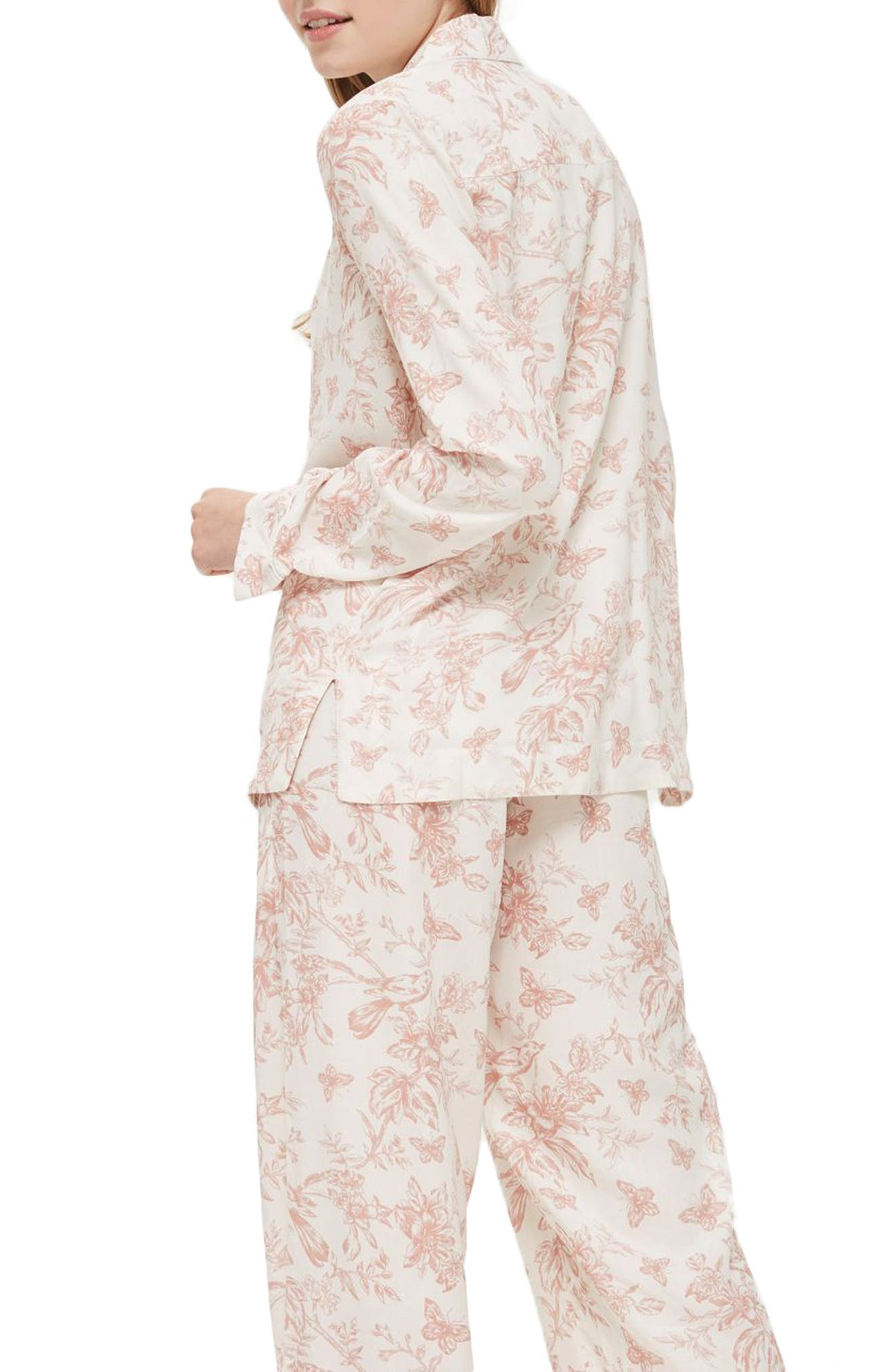 French Floral Pajamas,                             Alternate thumbnail 2, color,                             Light Pink Multi