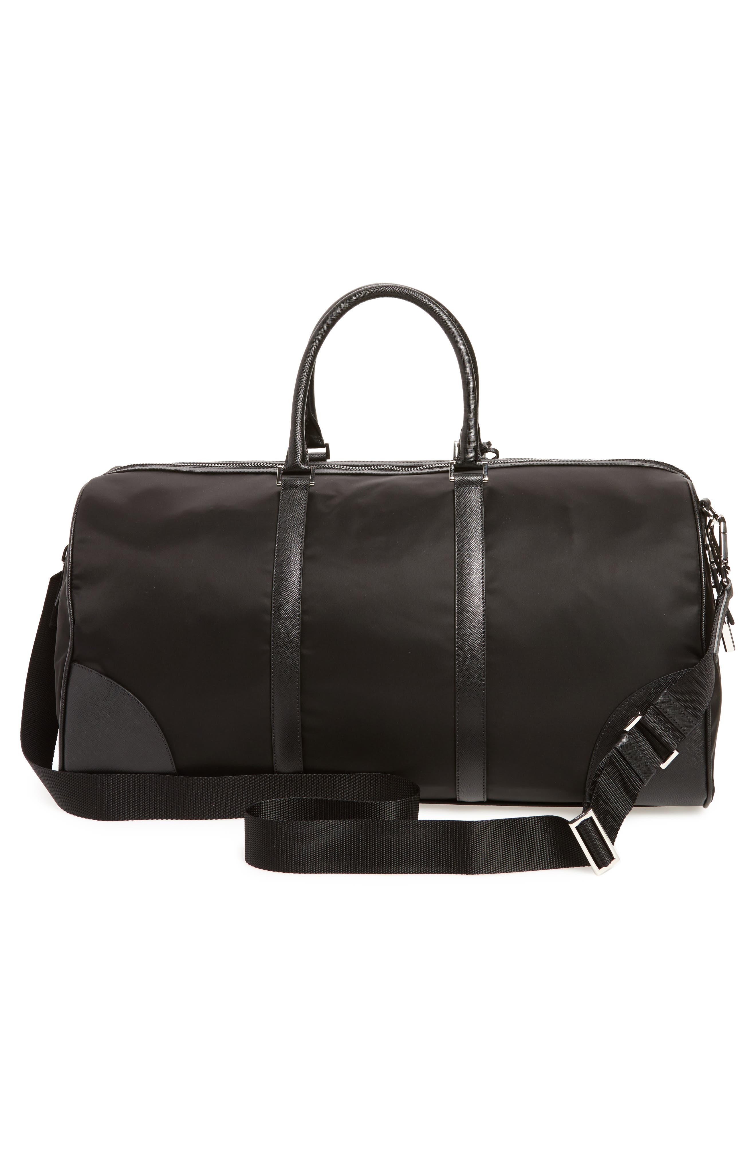 Nylon & Saffiano Leather Bowling Bag,                             Alternate thumbnail 3, color,                             Nero