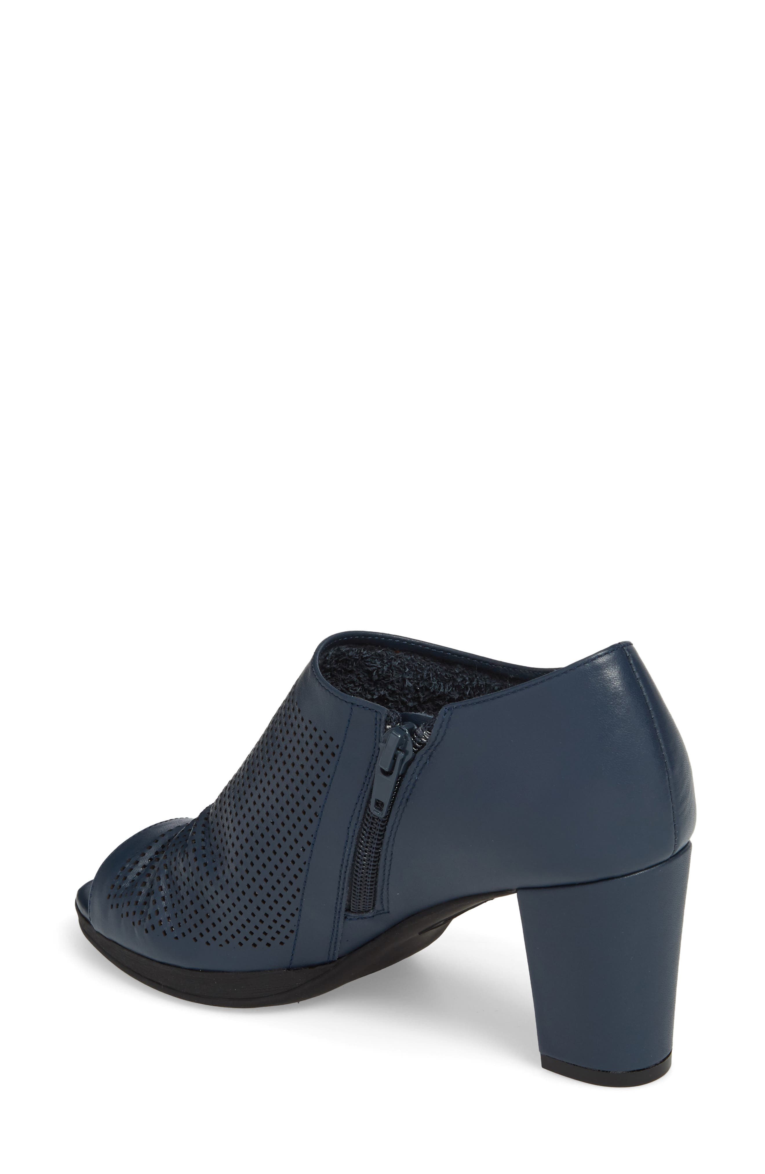 Liza Open Toe Bootie,                             Alternate thumbnail 2, color,                             Navy Leather