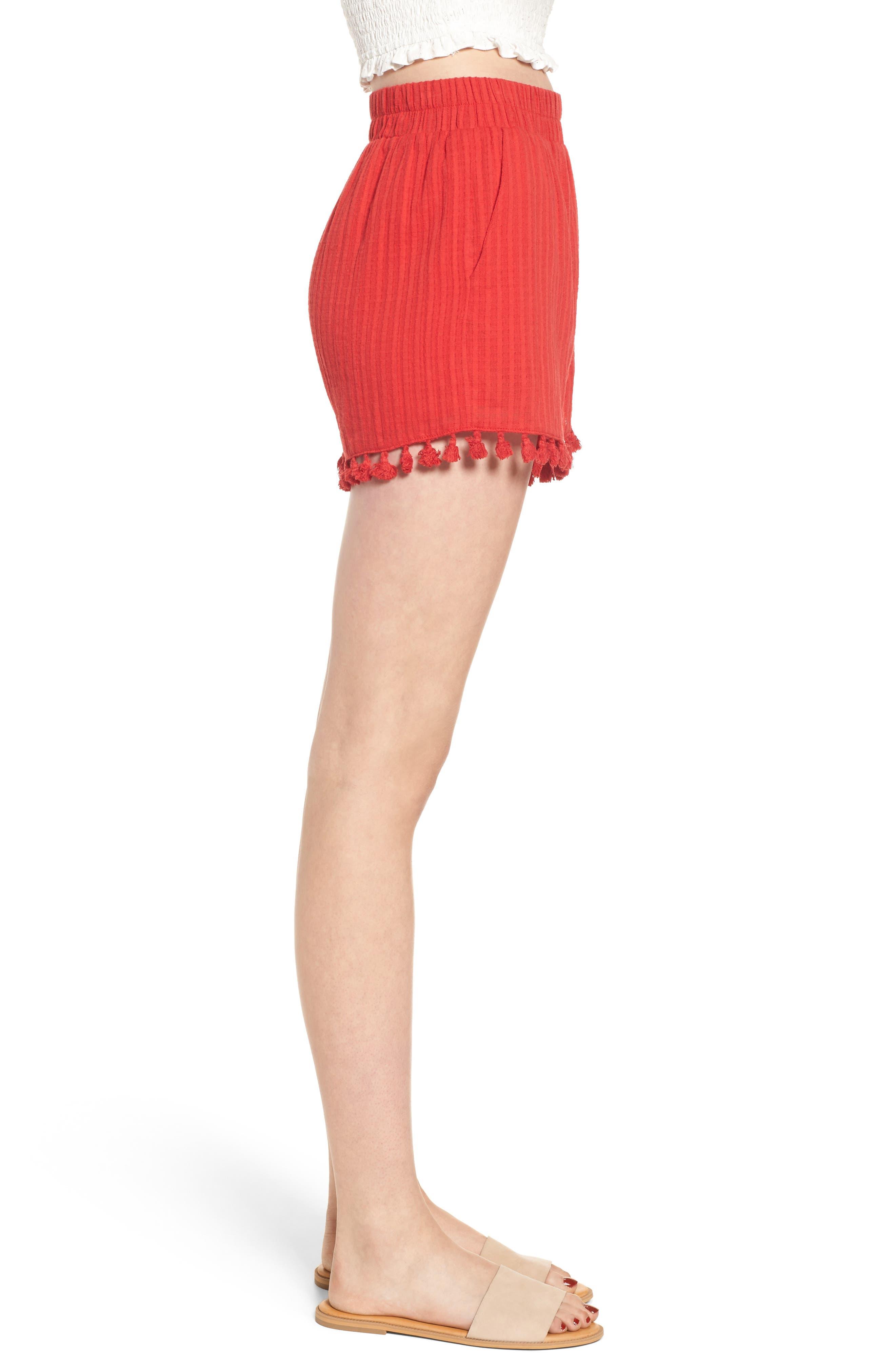 Pompom Trim Shorts,                             Alternate thumbnail 4, color,                             Red