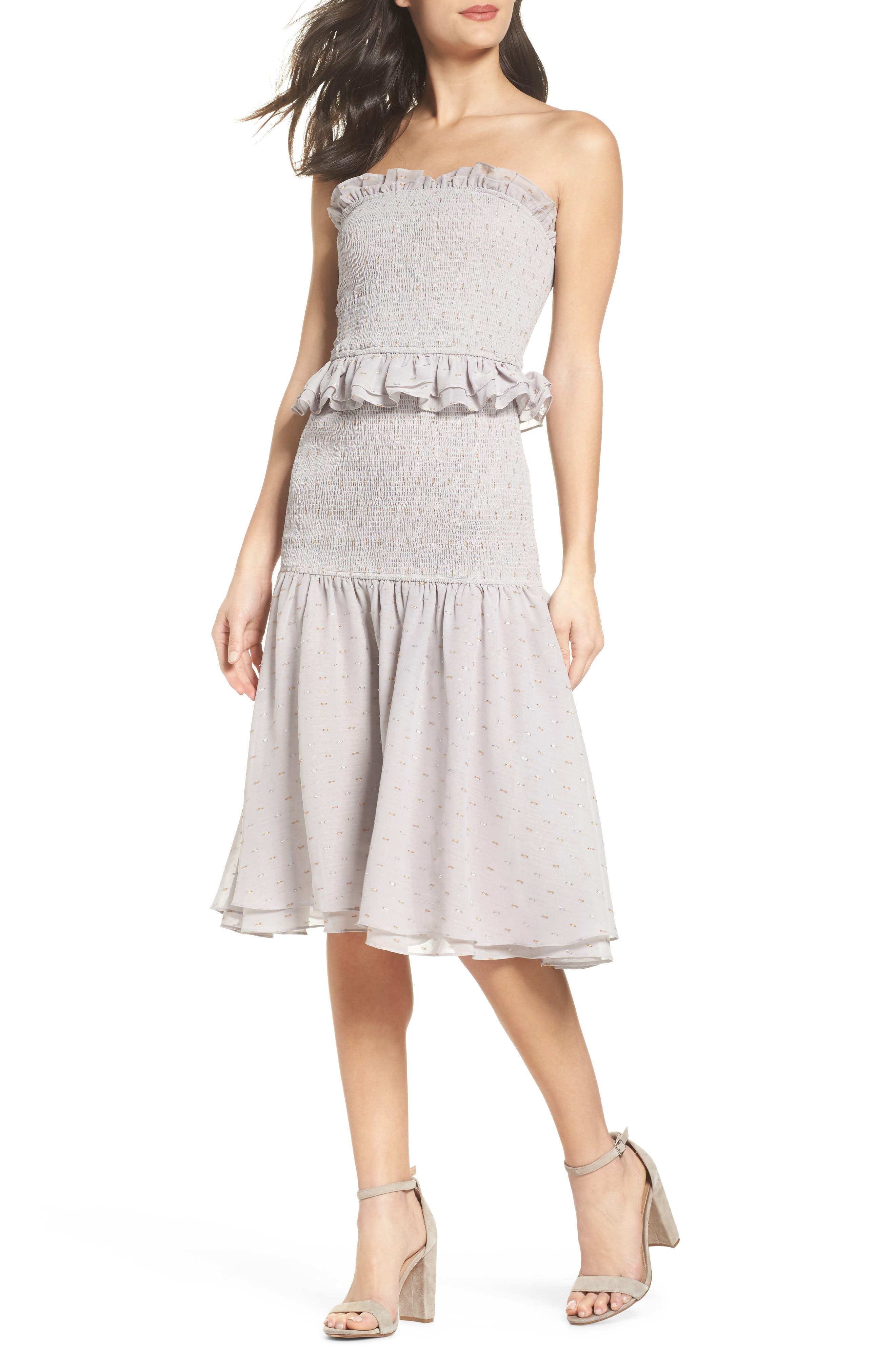 Grey Violet Smocked Midi Dress,                             Main thumbnail 1, color,                             Grey