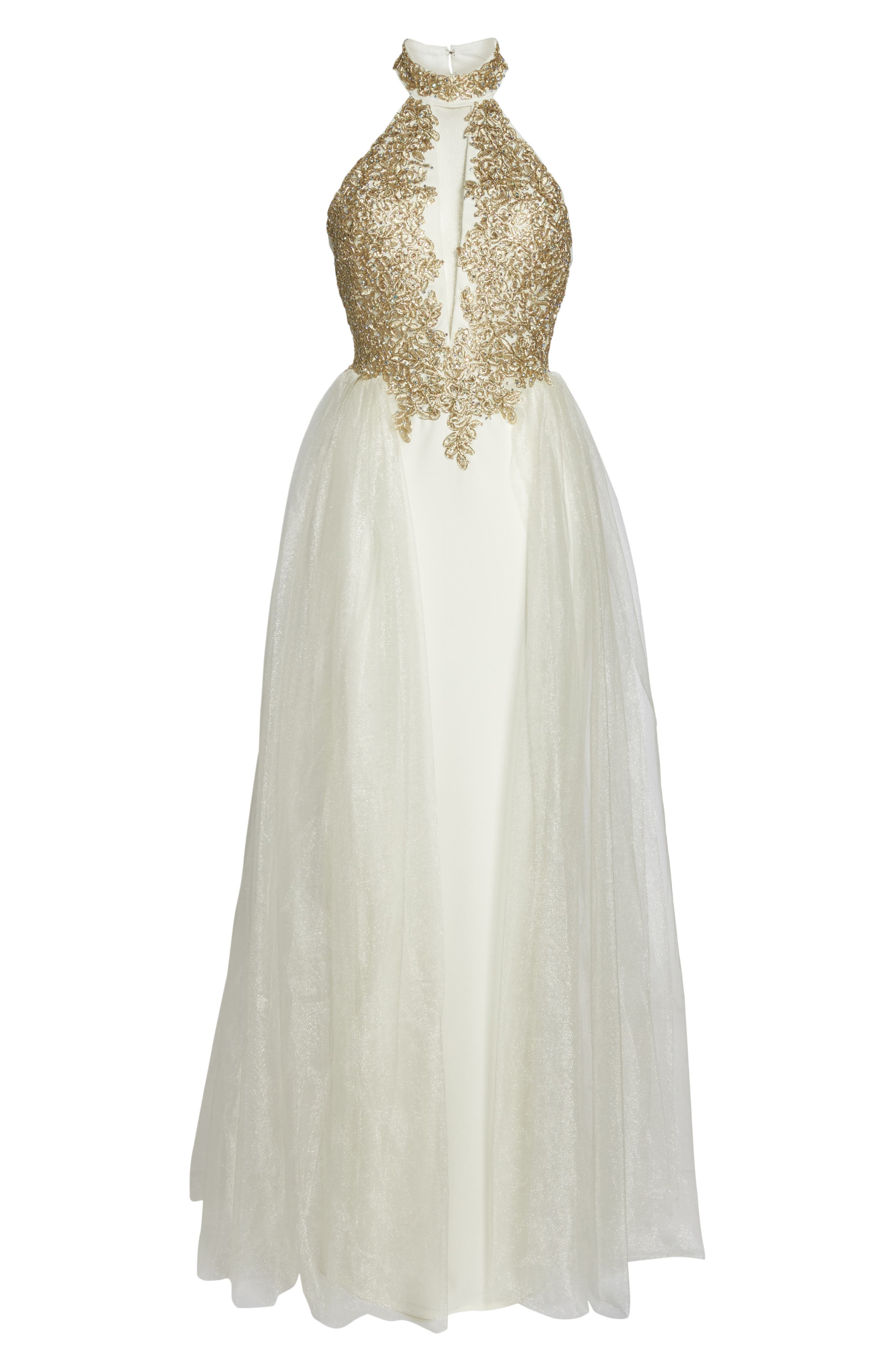 Alternate Image 6  - Sequin Hearts Embellished Halter Gown with Tulle Overskirt