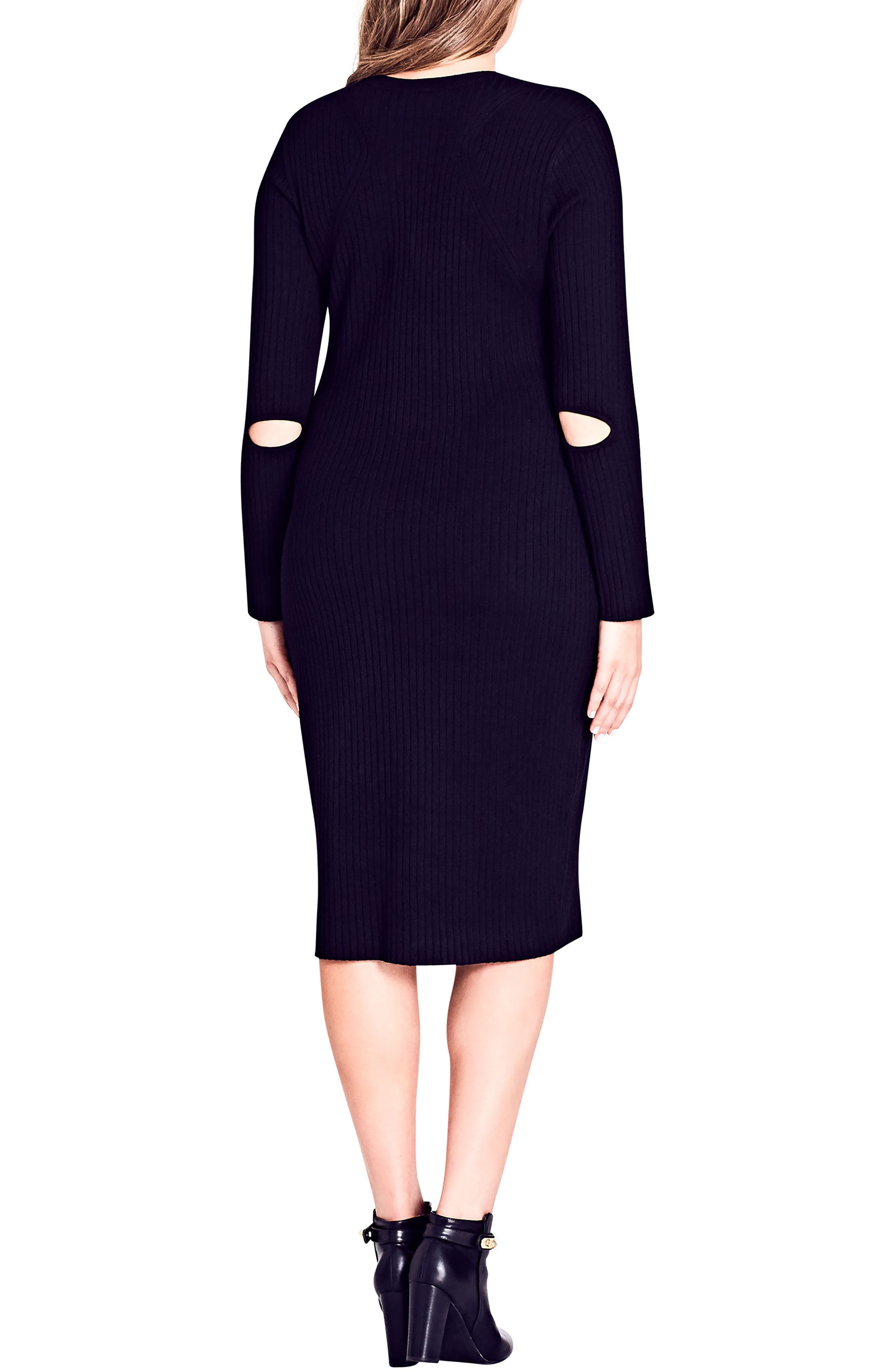 Zipped Up Sweater Dress,                             Alternate thumbnail 2, color,                             Black