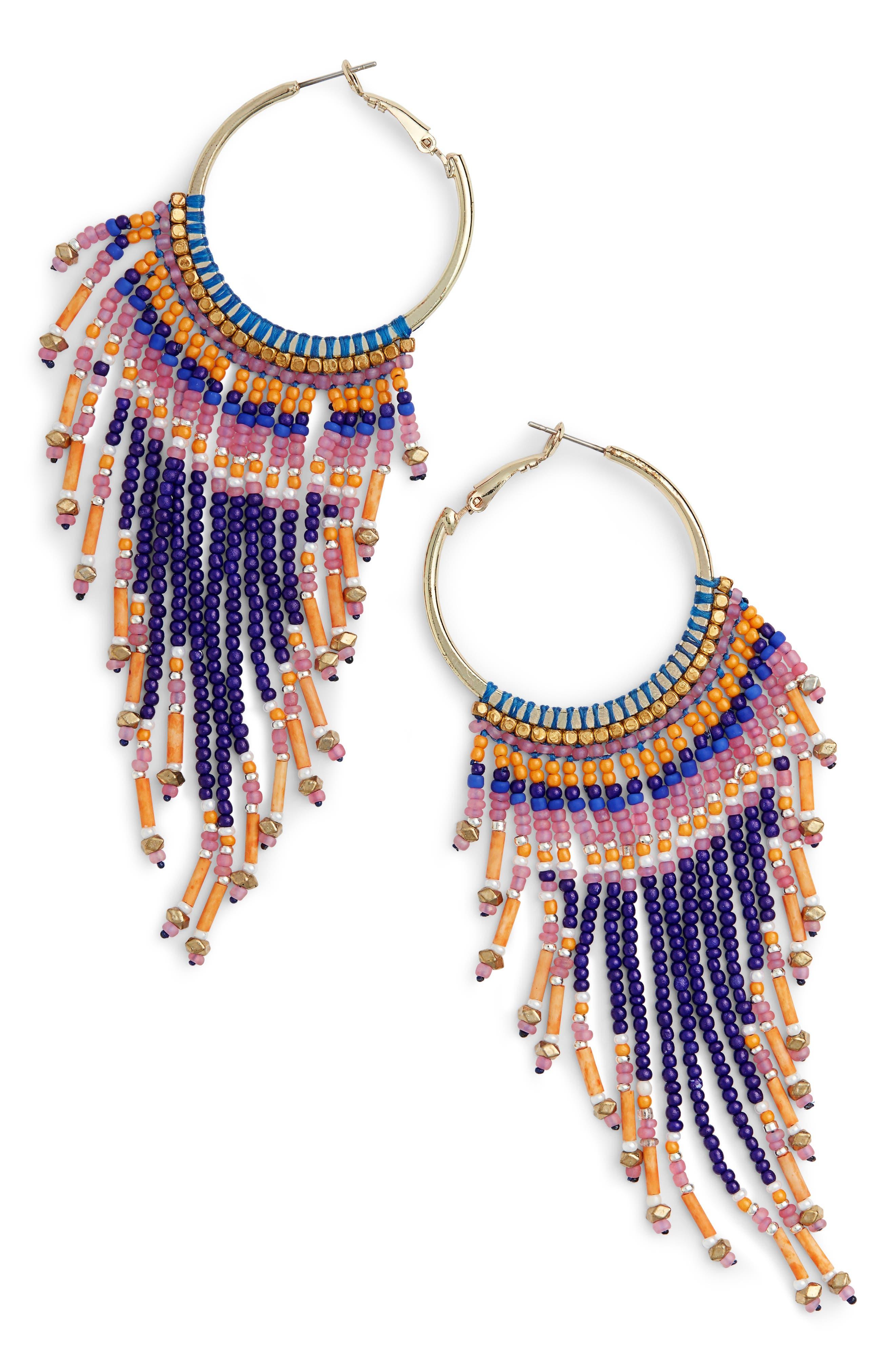 Beaded Fringe Hoop Earrings,                         Main,                         color, Multi