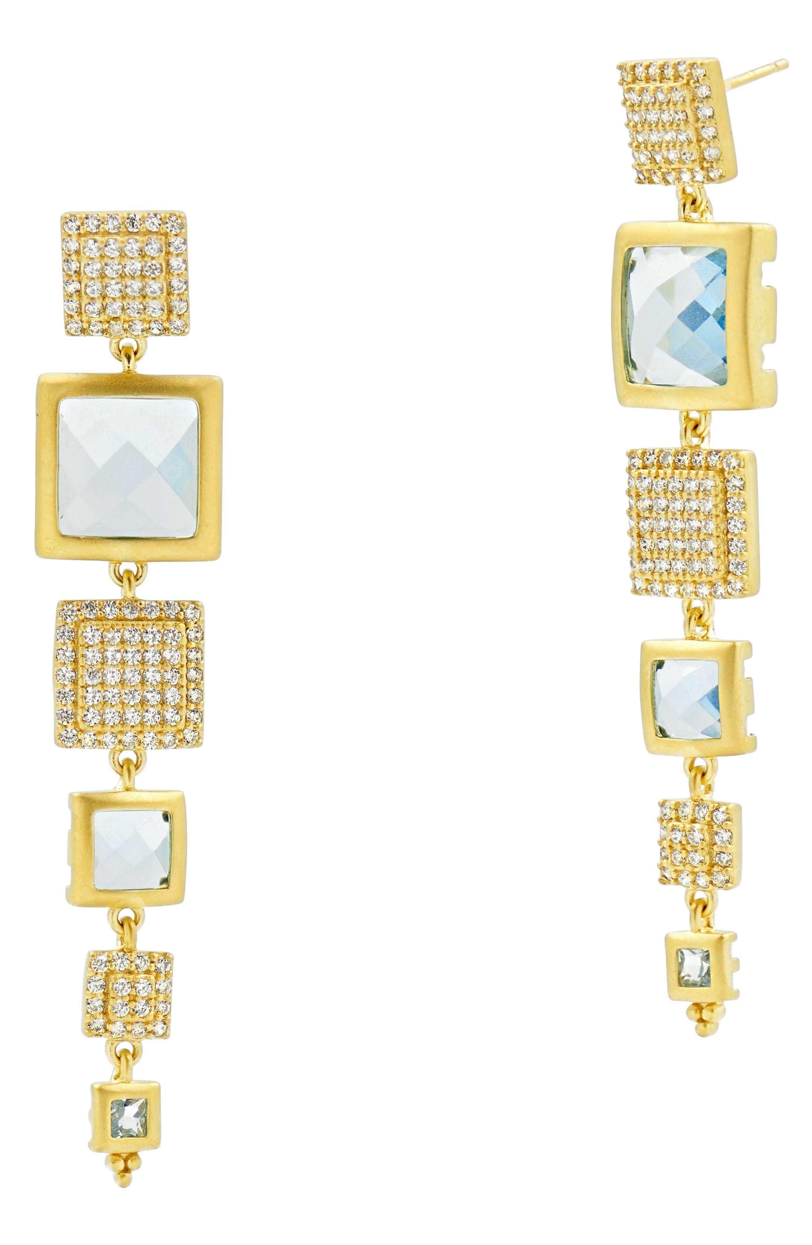 FREIDA ROTHMAN Frieda Rothman Ocean Azure Line Earrings in Gold/ Aqua