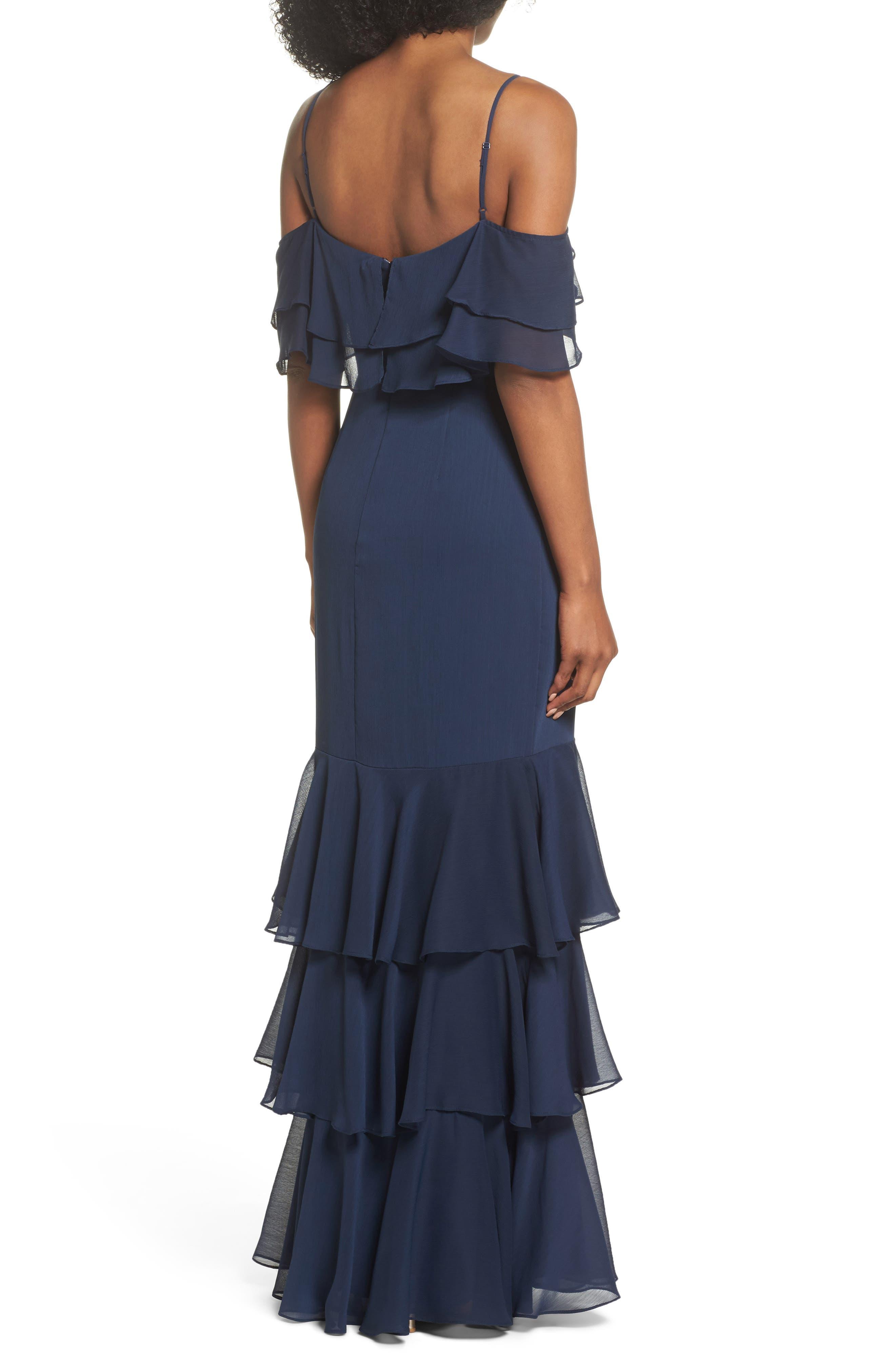 Lauren Cold Shoulder Tiered Gown,                             Alternate thumbnail 2, color,                             Navy