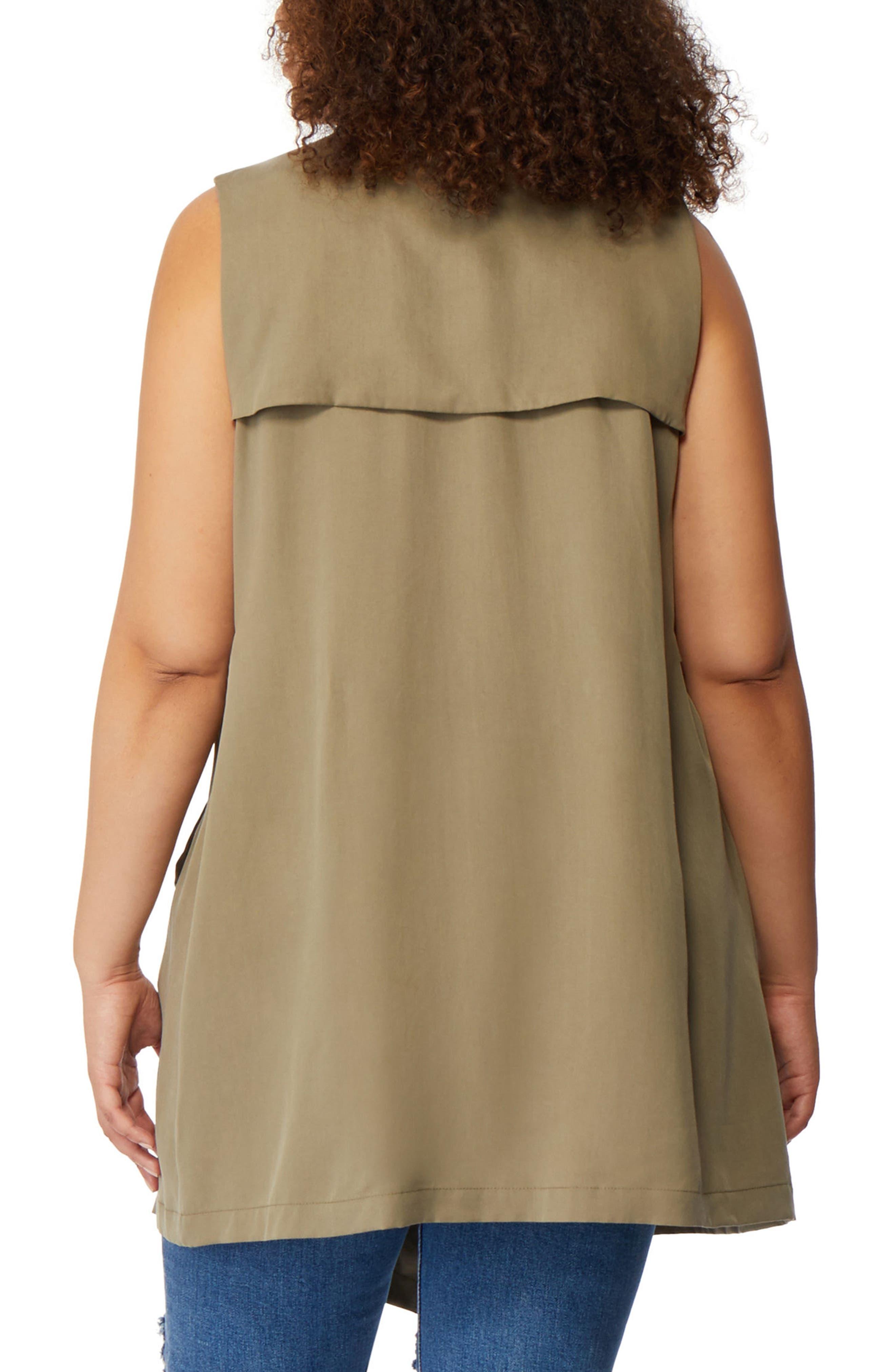 Flyaway Trench Coat Vest,                             Alternate thumbnail 3, color,                             Burnt Olive