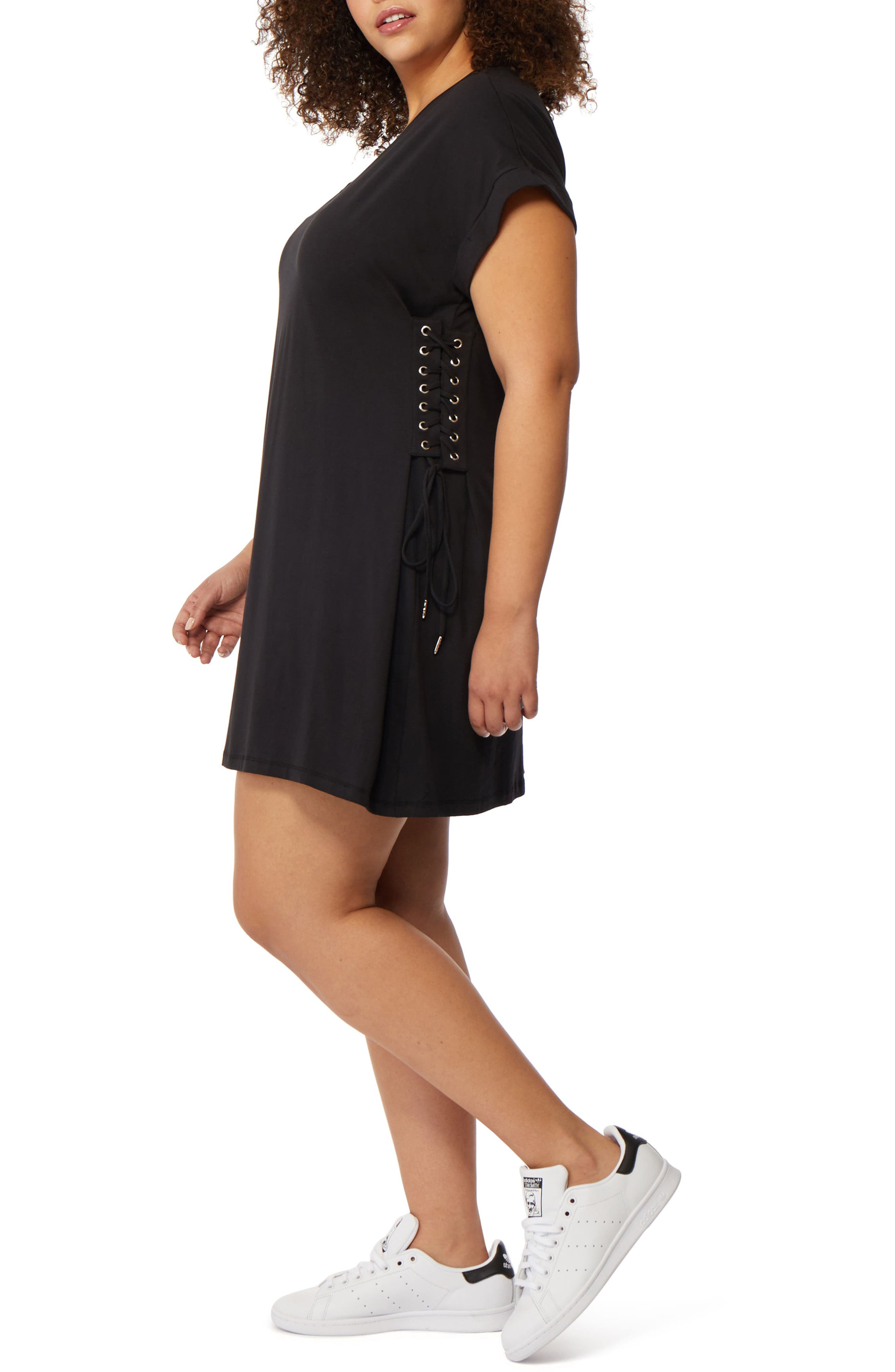 Corset Side T-Shirt Dress,                             Alternate thumbnail 3, color,                             Black