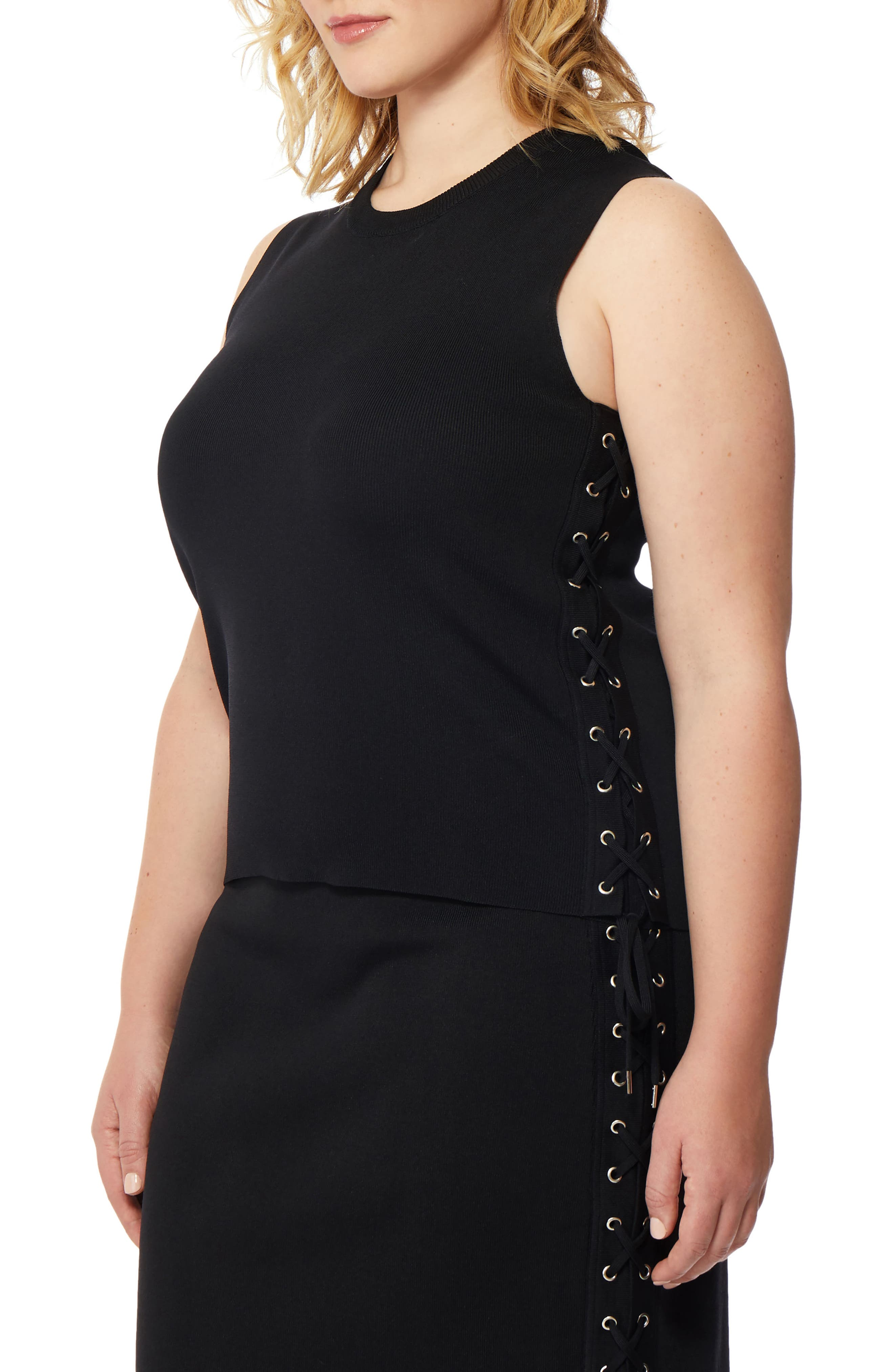 Side Lace-Up Sweater,                             Alternate thumbnail 3, color,                             Black
