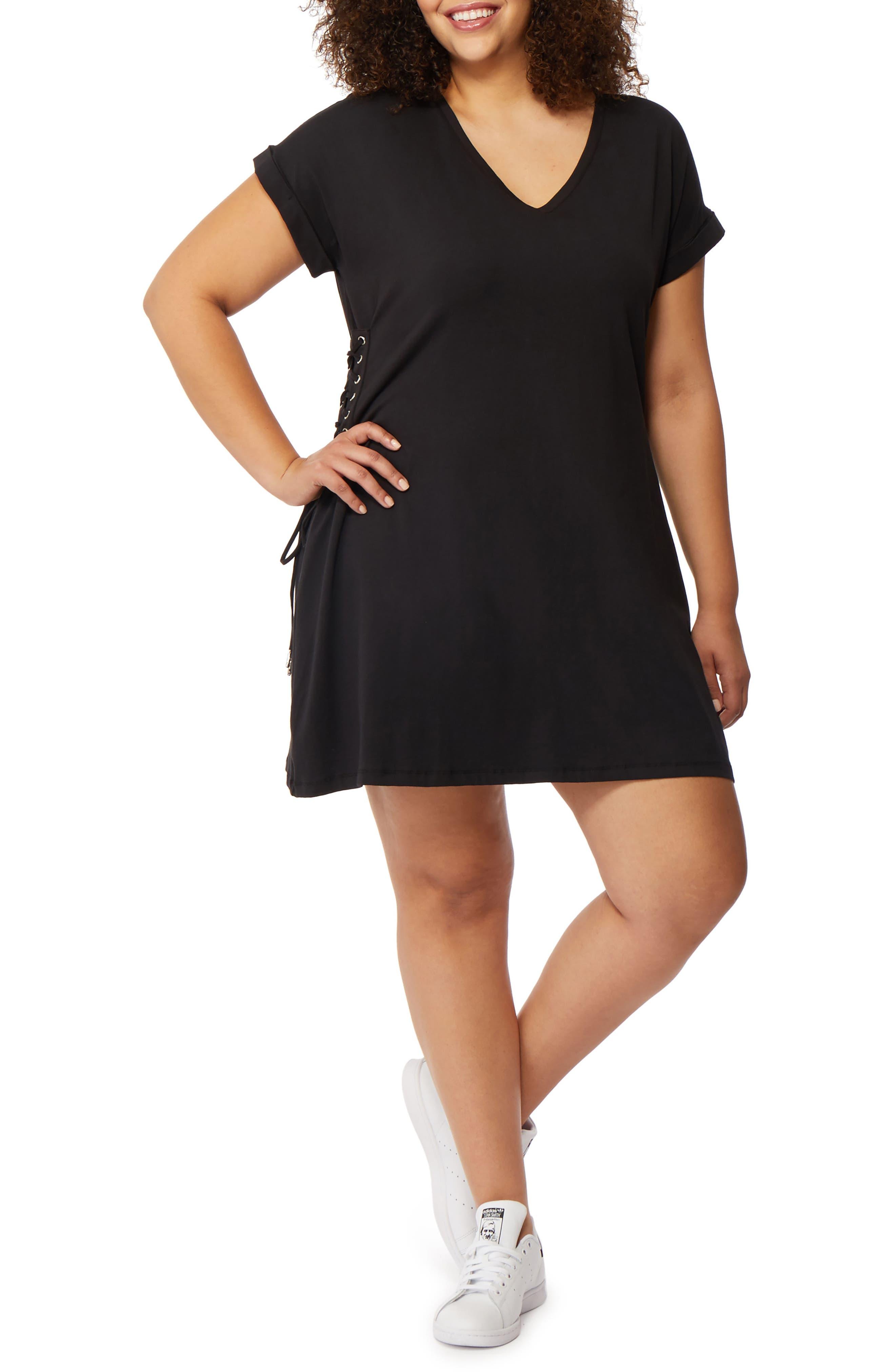 Corset Side T-Shirt Dress,                             Main thumbnail 1, color,                             Black