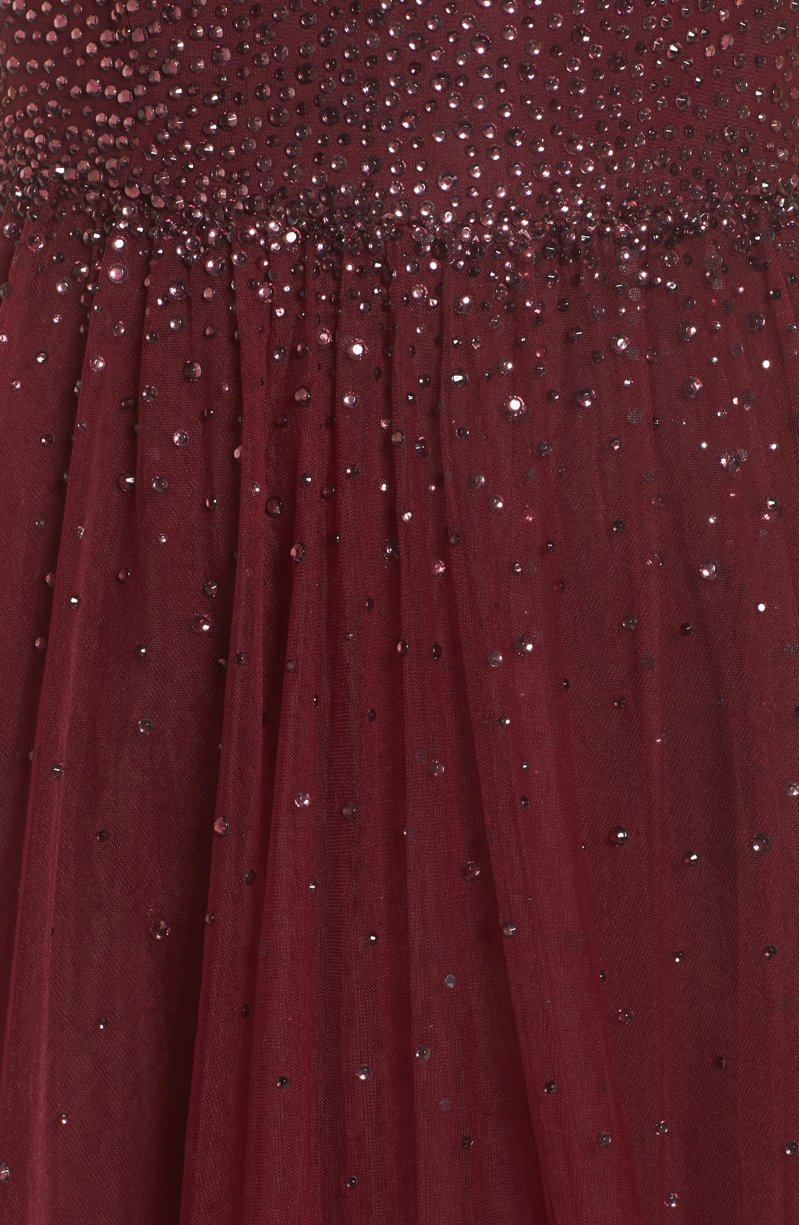 Embellished Illusion Plunge Gown,                             Alternate thumbnail 5, color,                             Garnet