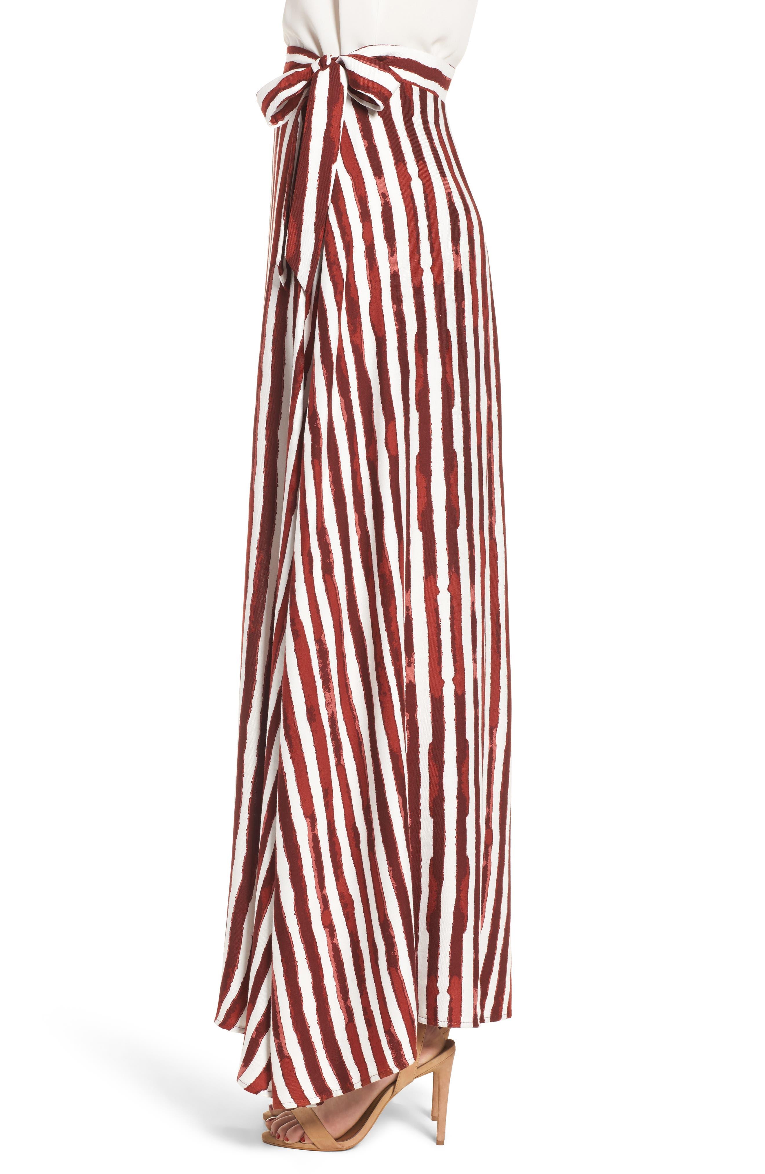 Maxi Skirt,                             Alternate thumbnail 5, color,                             Burgundy/ Ivory