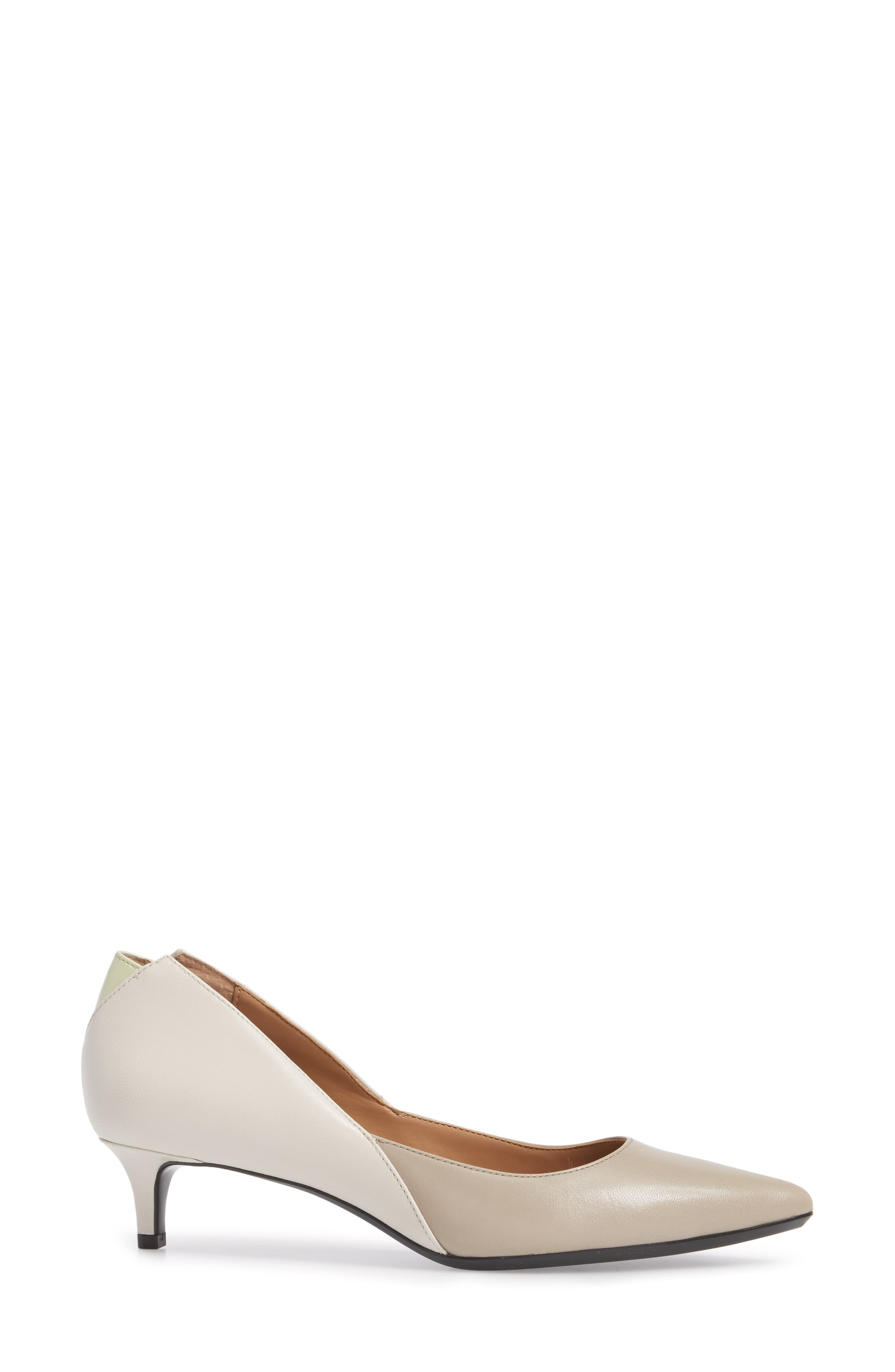 Grayce Pointy Toe Pump,                             Alternate thumbnail 3, color,                             Clay/ White Leather
