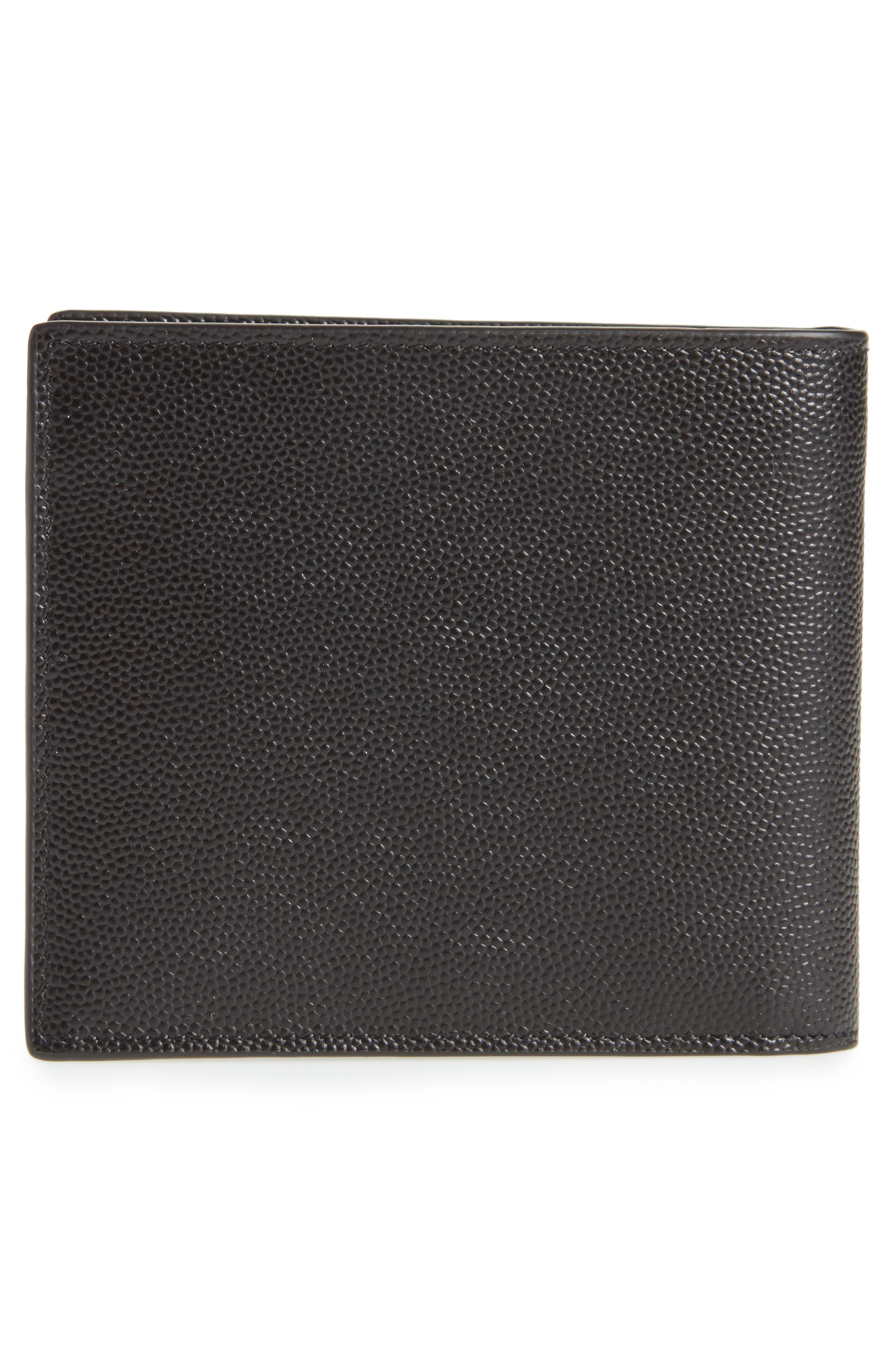 Pebble Grain Leather Wallet,                             Alternate thumbnail 3, color,                             Nero