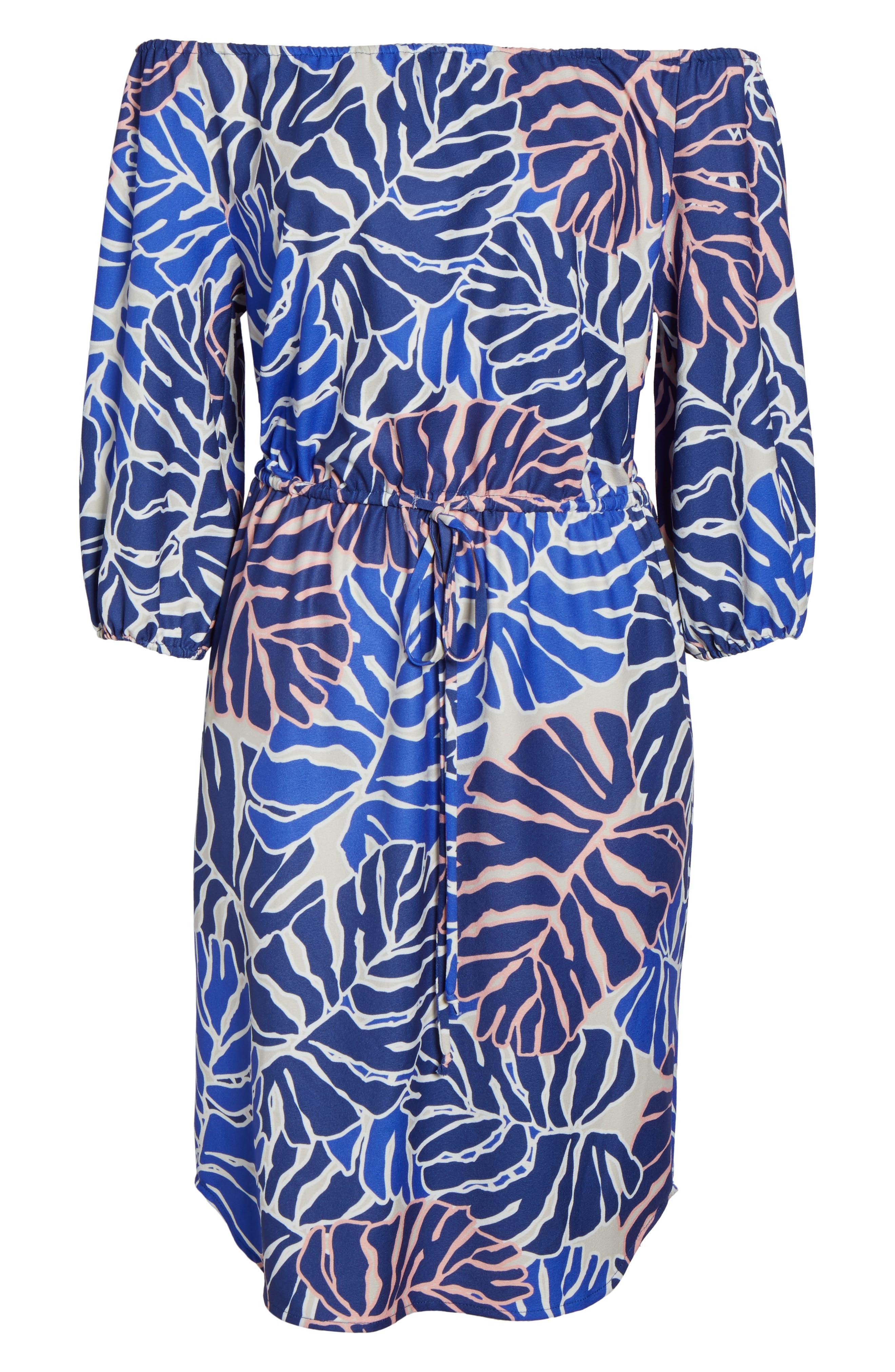 Leilani Off the Shoulder Dress,                             Alternate thumbnail 6, color,                             Palm Print