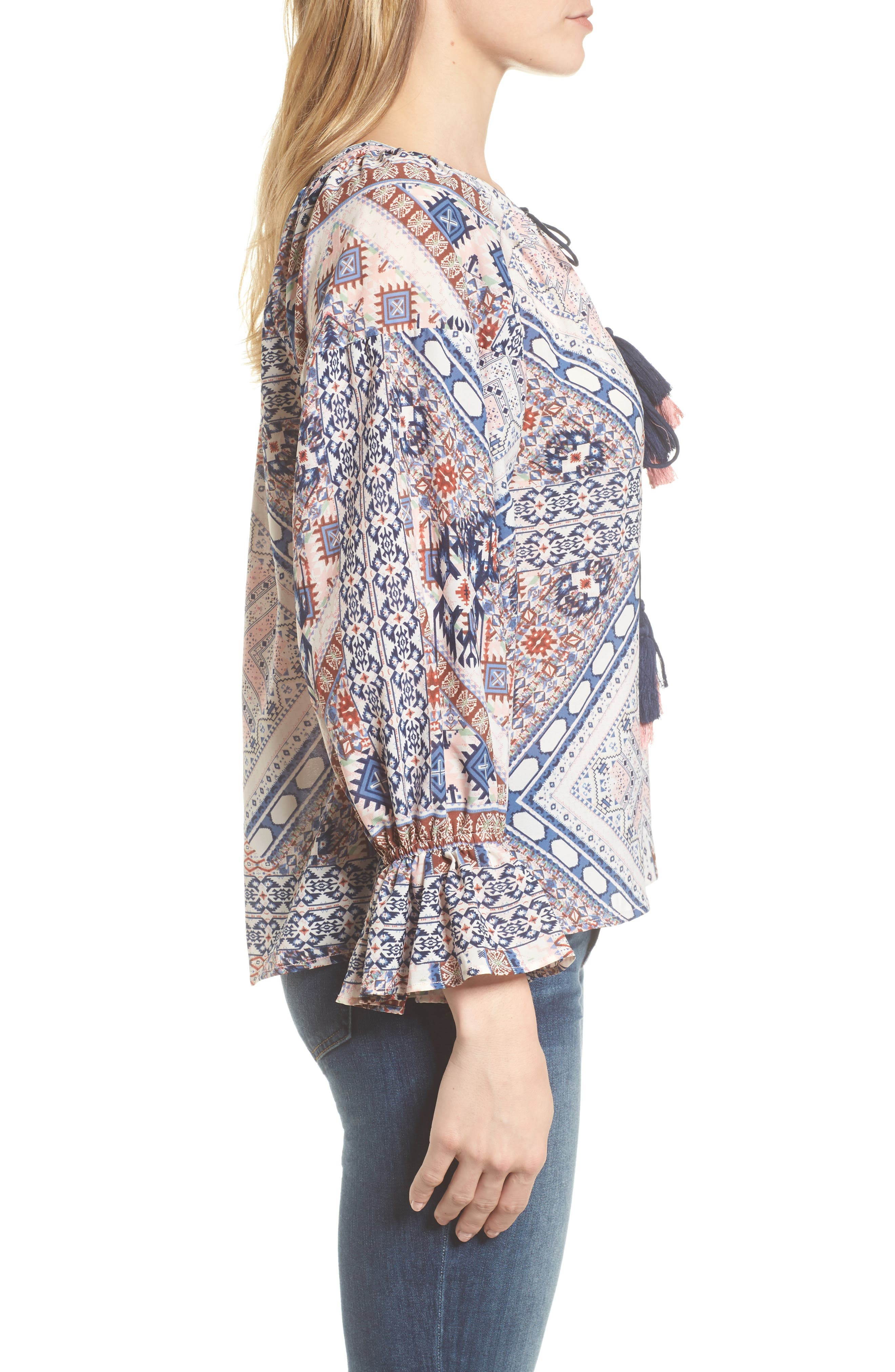Belfast Ikat Peasant Blouse,                             Alternate thumbnail 3, color,                             Ikat Print