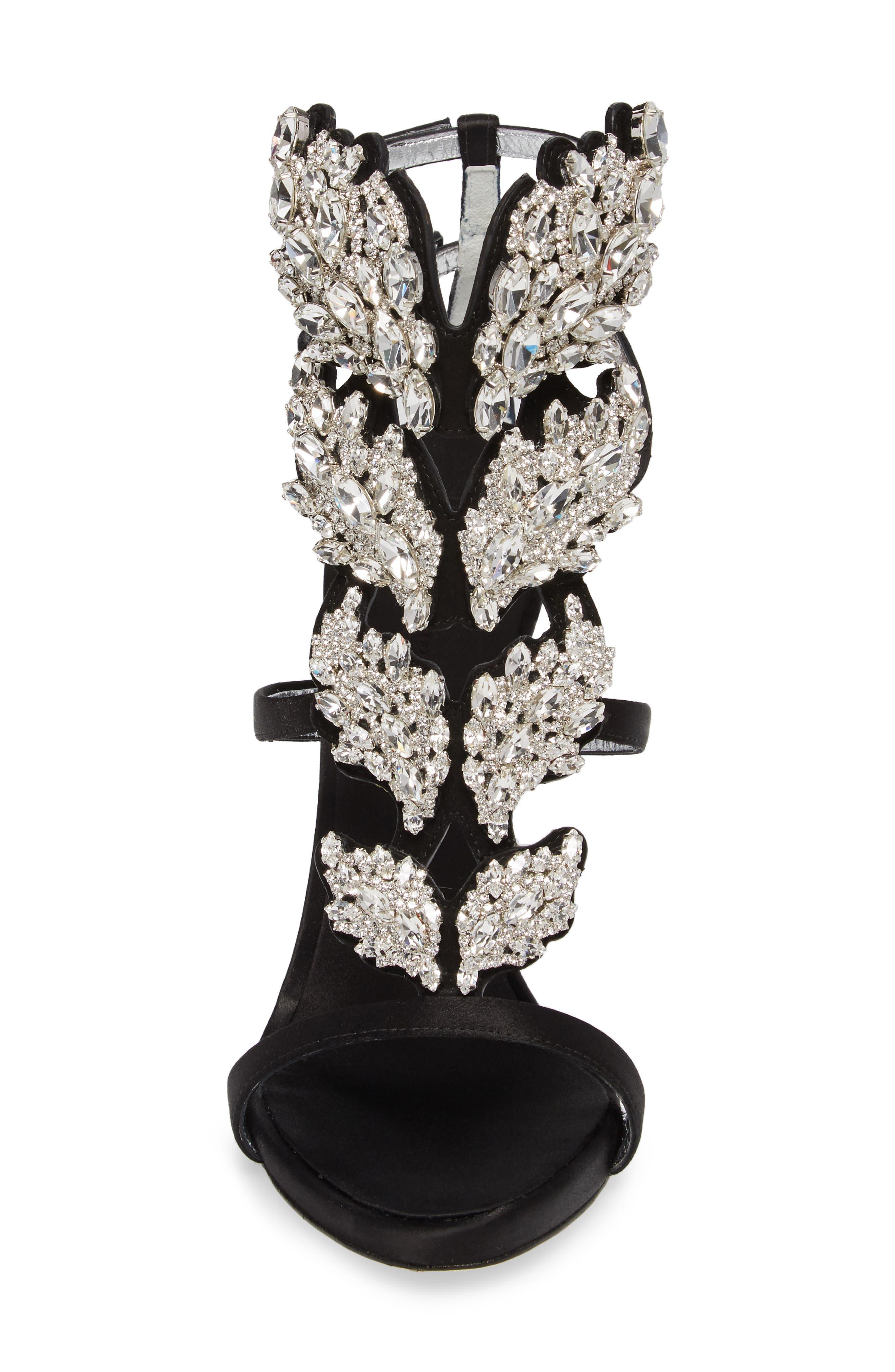 Cruel Wing Crystal Embellished Sandal,                             Alternate thumbnail 4, color,                             Black/ Crystal