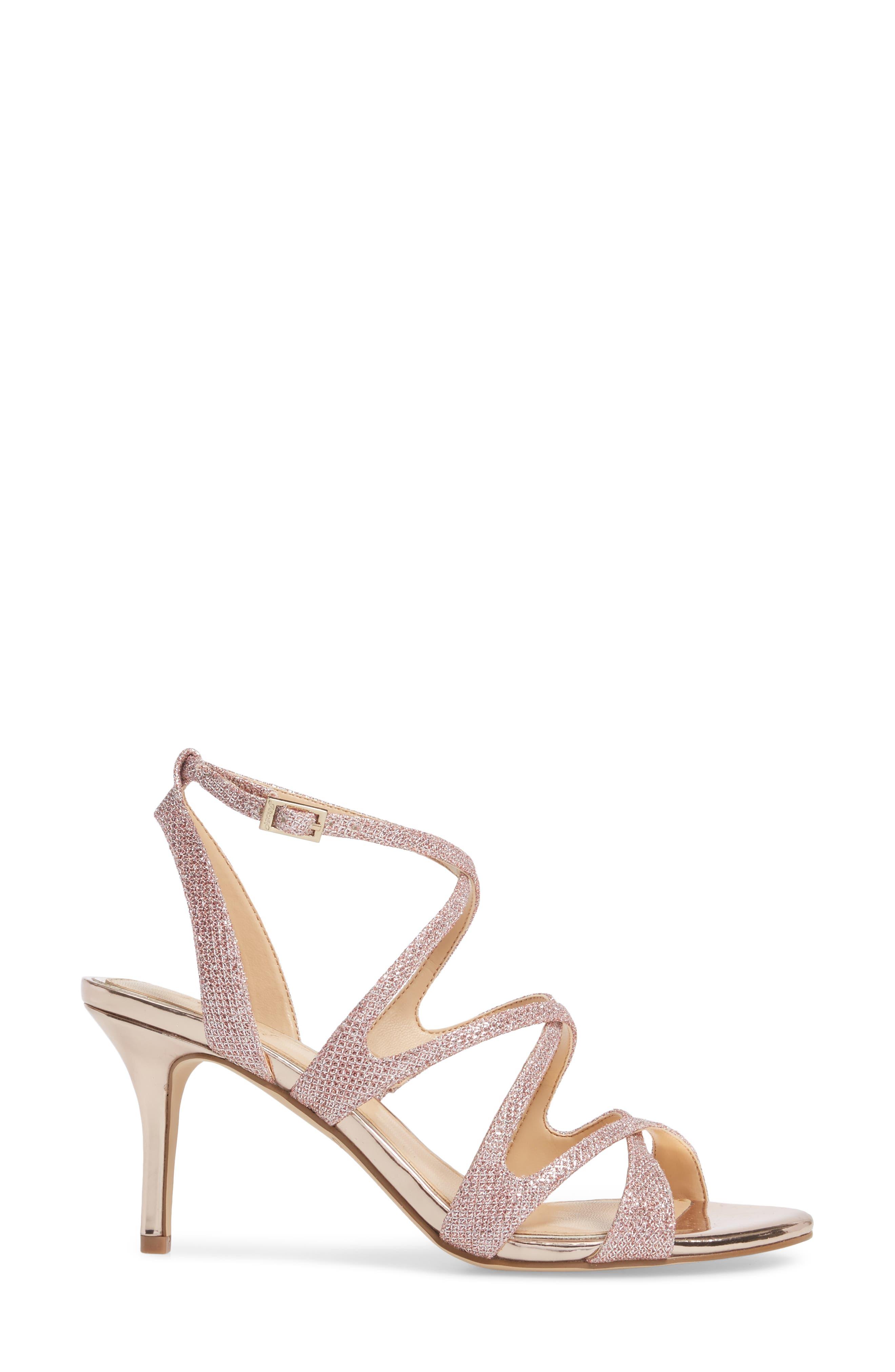 Tasha Glitter Sandal,                             Alternate thumbnail 3, color,                             Rose Gold Glitter