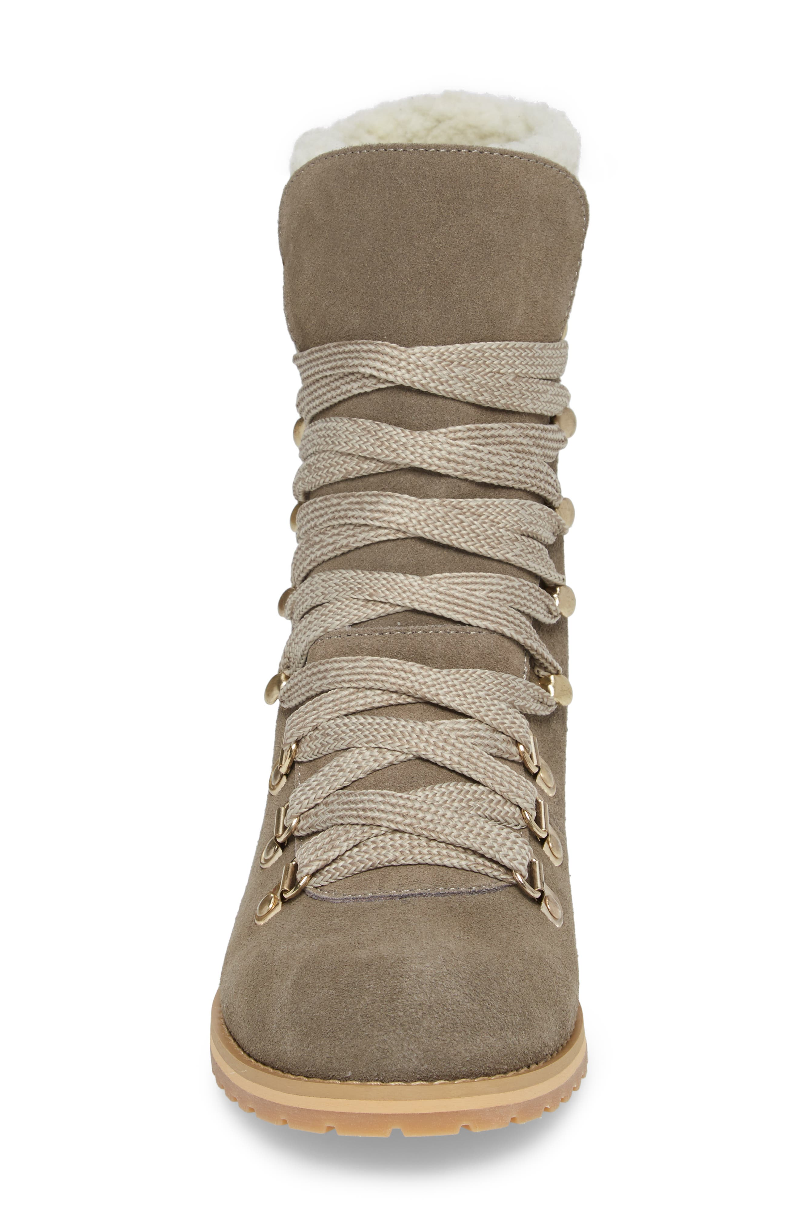 Faux Shearling Trim Ada Boot,                             Alternate thumbnail 4, color,                             Mushroom