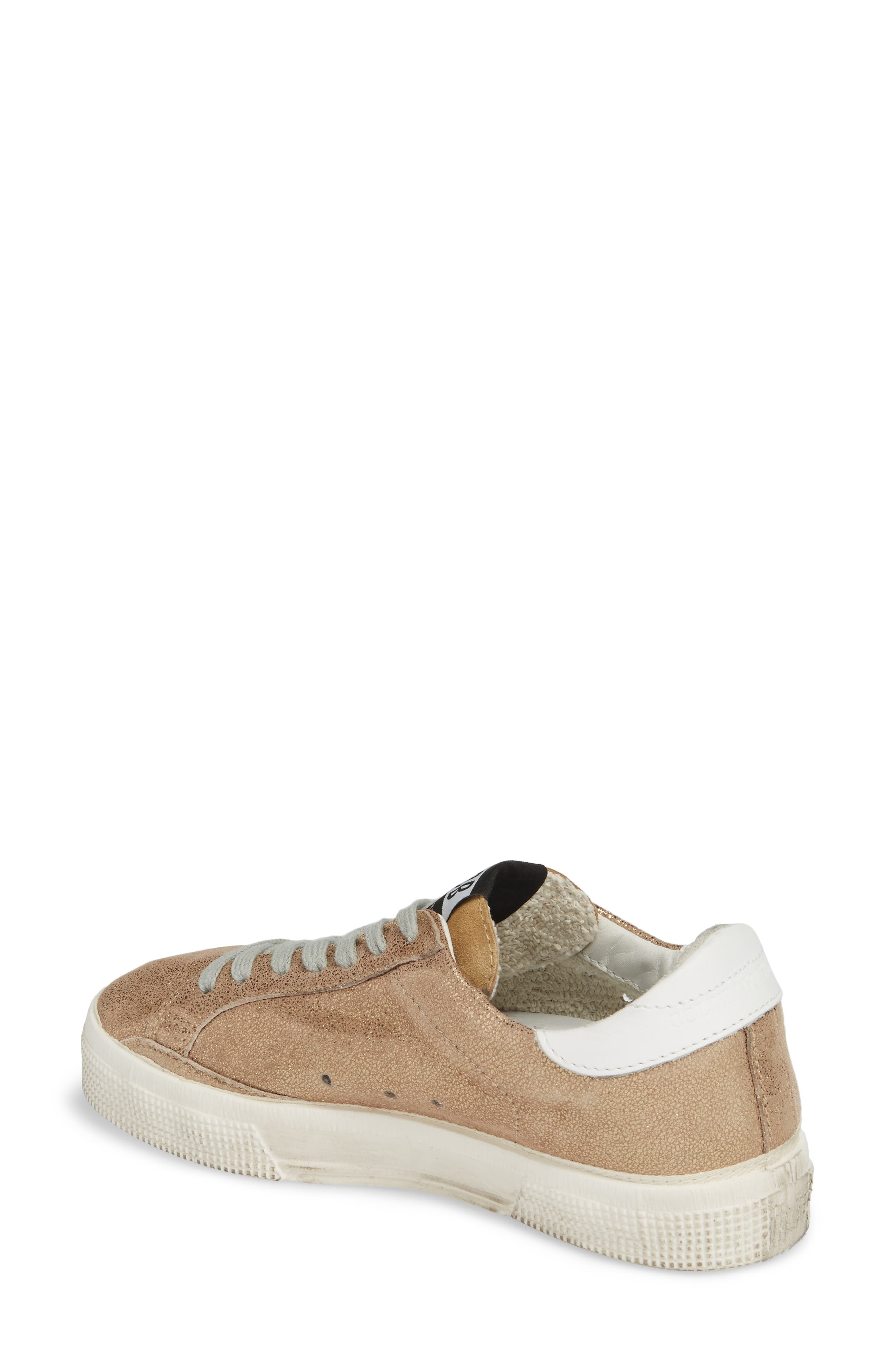 May Metallic Low Top Sneaker,                             Alternate thumbnail 2, color,                             Gold/ White