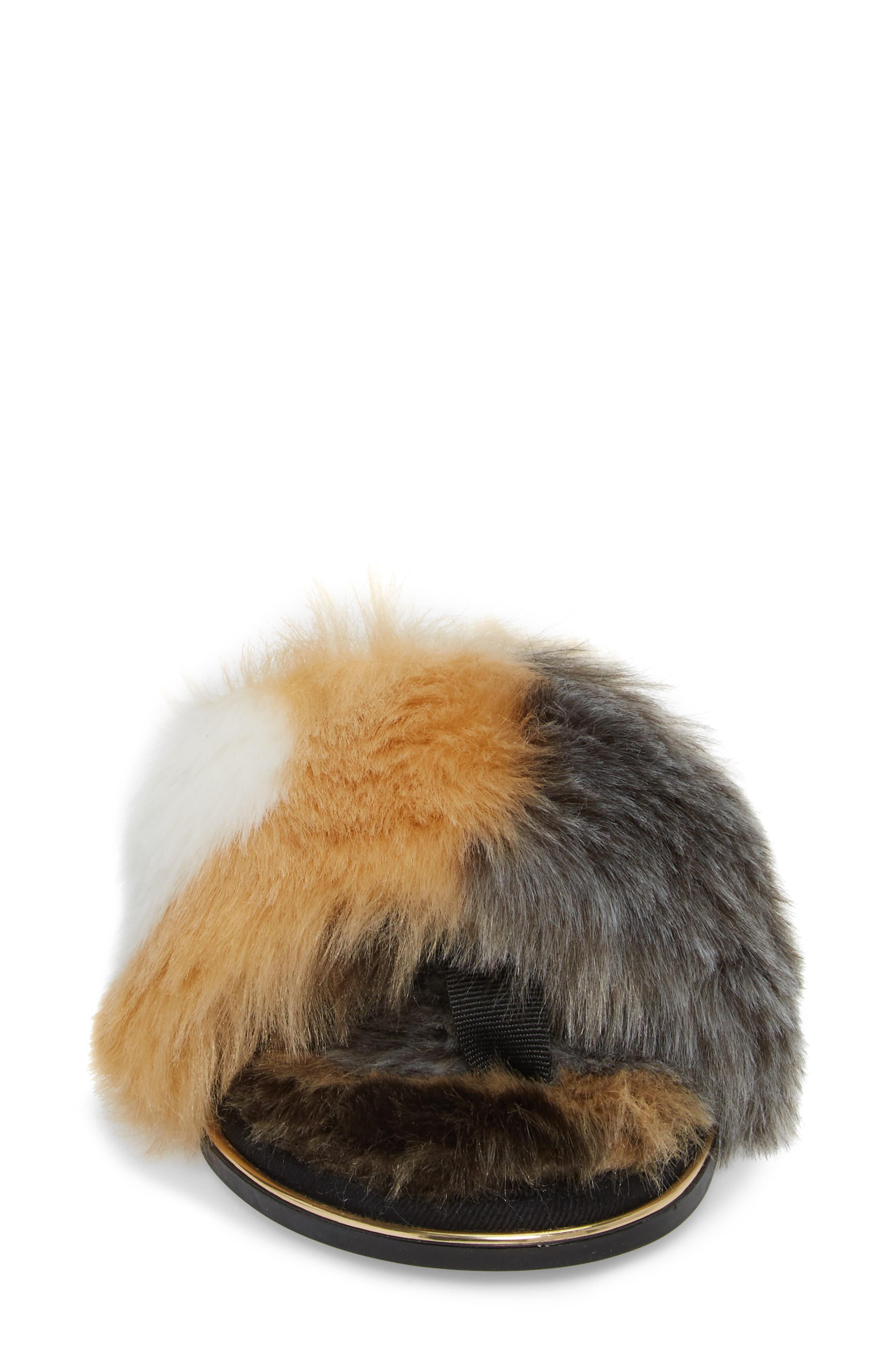Rose Faux Fur Slide Sandal,                             Alternate thumbnail 4, color,                             Natural/ Black Faux Fur