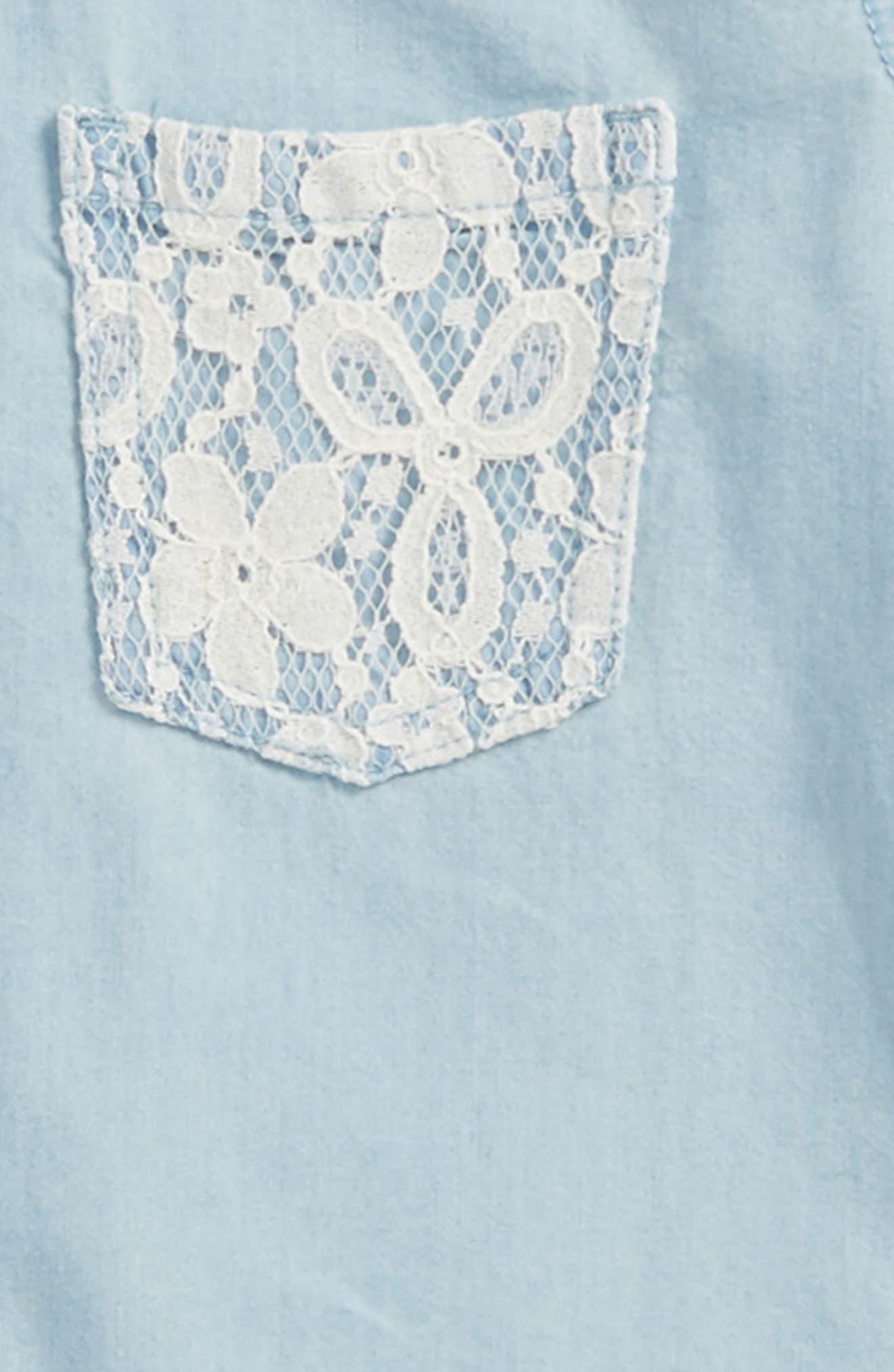 Lace Trim Chambray Shirt,                             Alternate thumbnail 3, color,                             Medium Wash