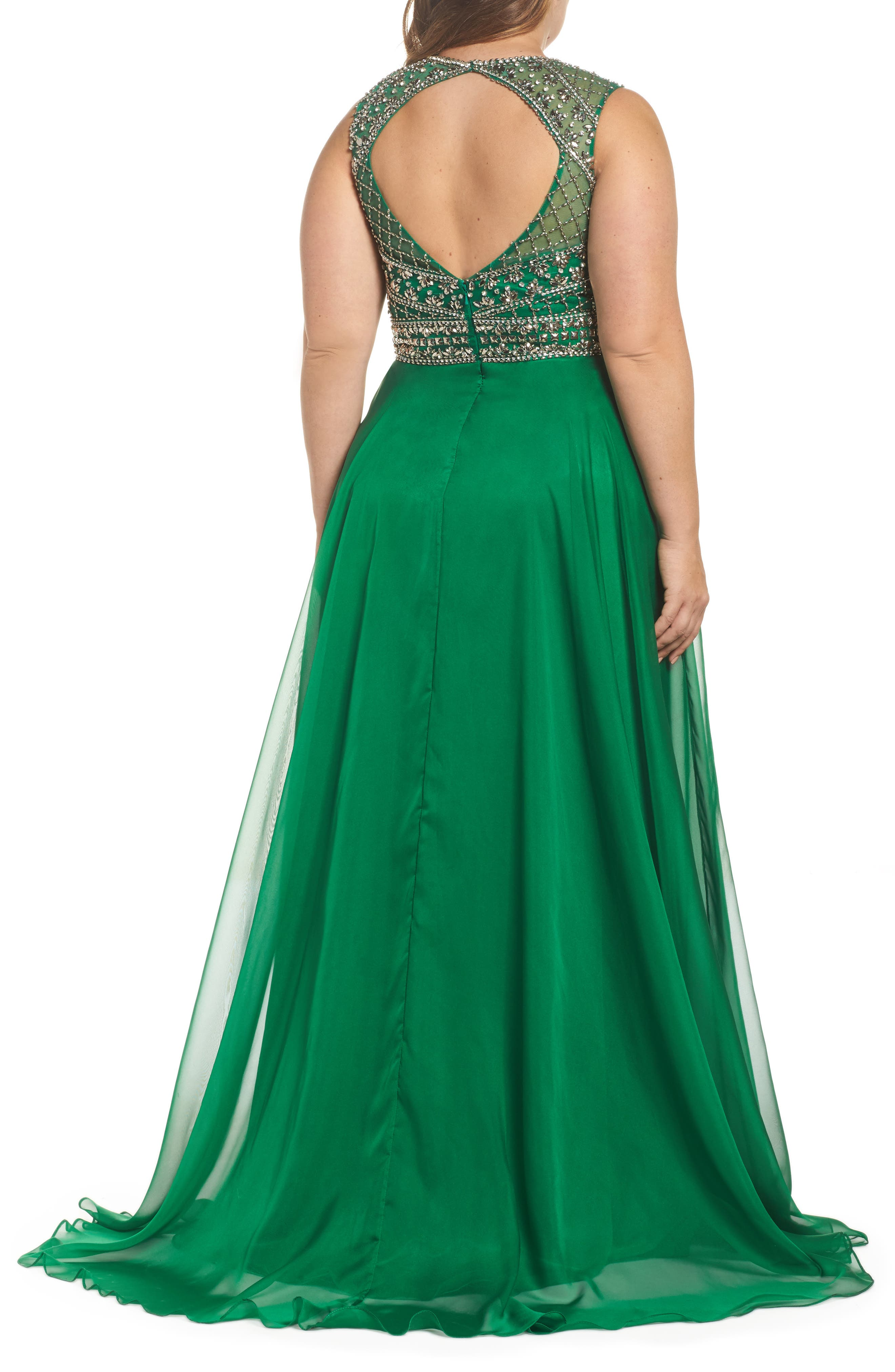 Embellished Ballgown,                             Alternate thumbnail 2, color,                             Emerald