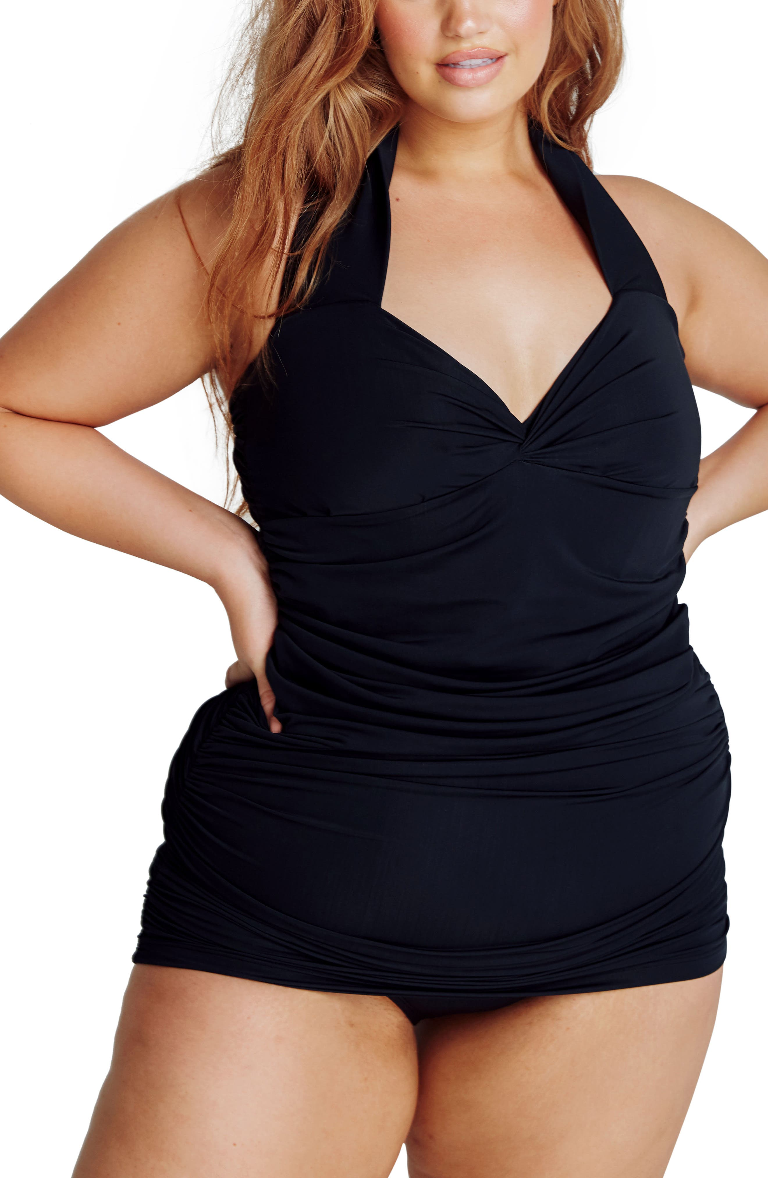 Versailles One-Piece Swimdress,                             Main thumbnail 1, color,                             Black
