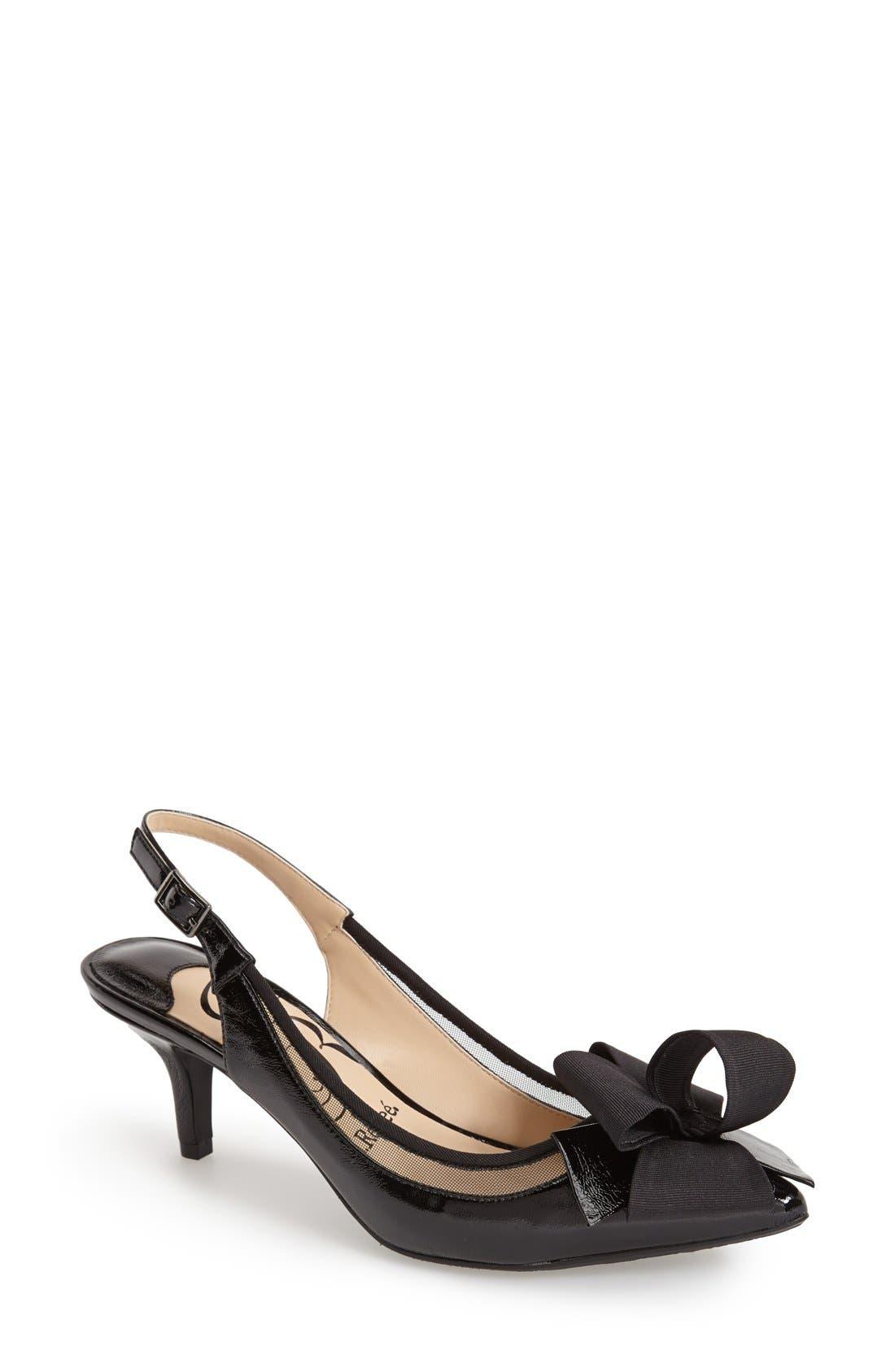 'Garbi' Pointy Toe Bow Pump,                         Main,                         color, Black/ Black