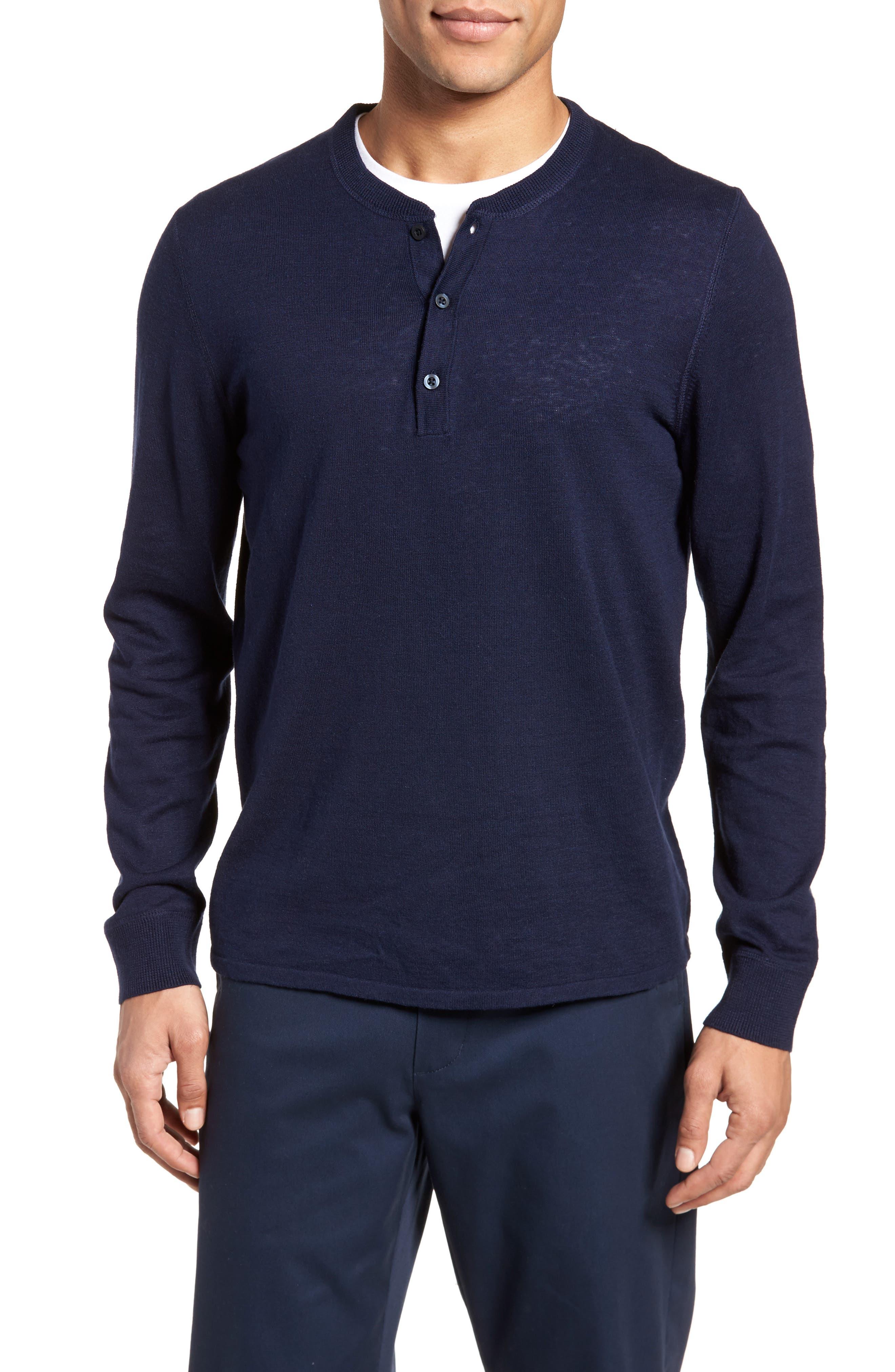 Long Sleeve Cotton & Linen Blend Henley,                         Main,                         color, Navy Iris