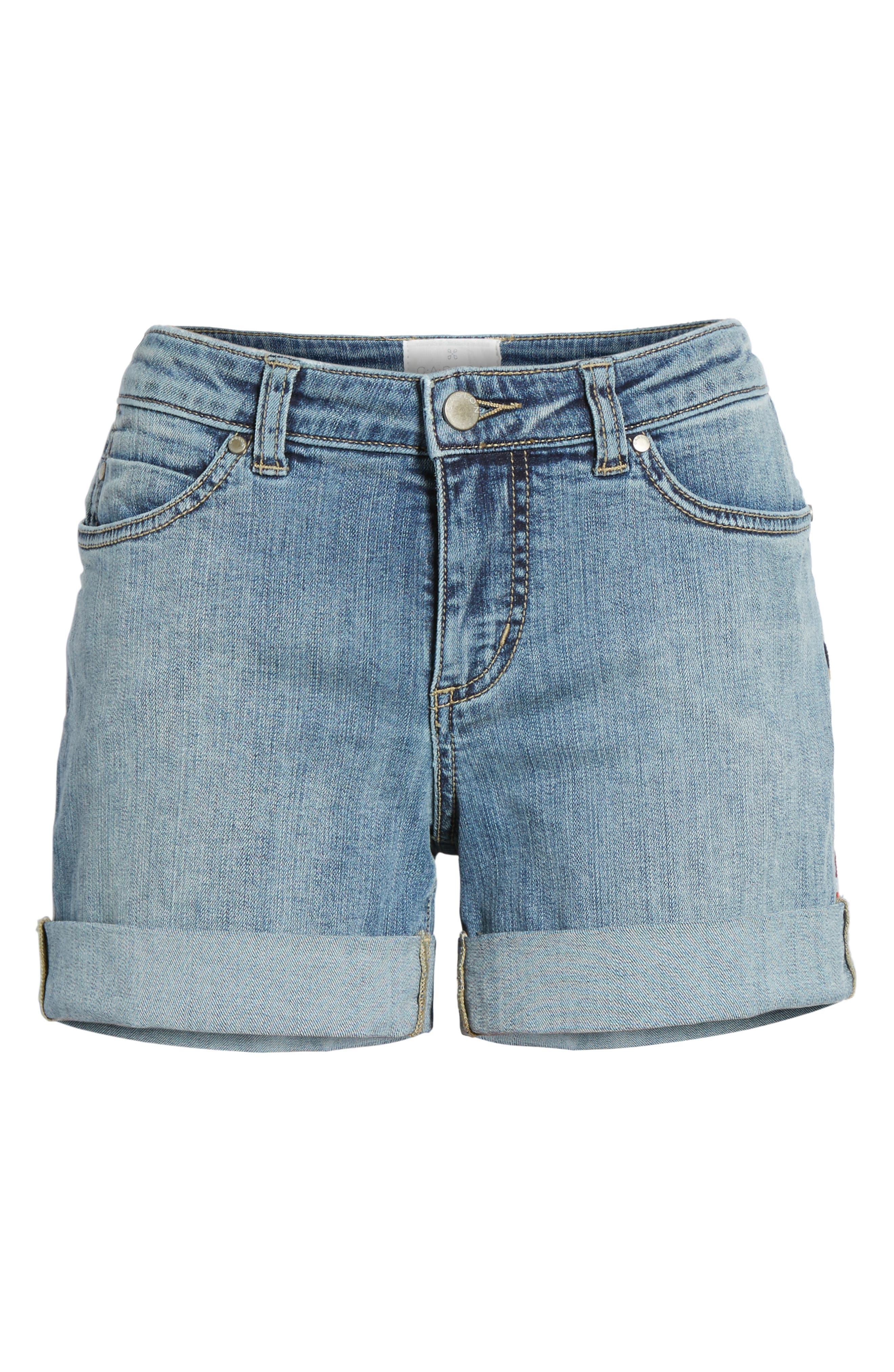 Embroidered Seam Boyfriend Denim Shorts,                             Alternate thumbnail 6, color,                             Sunspot Wash