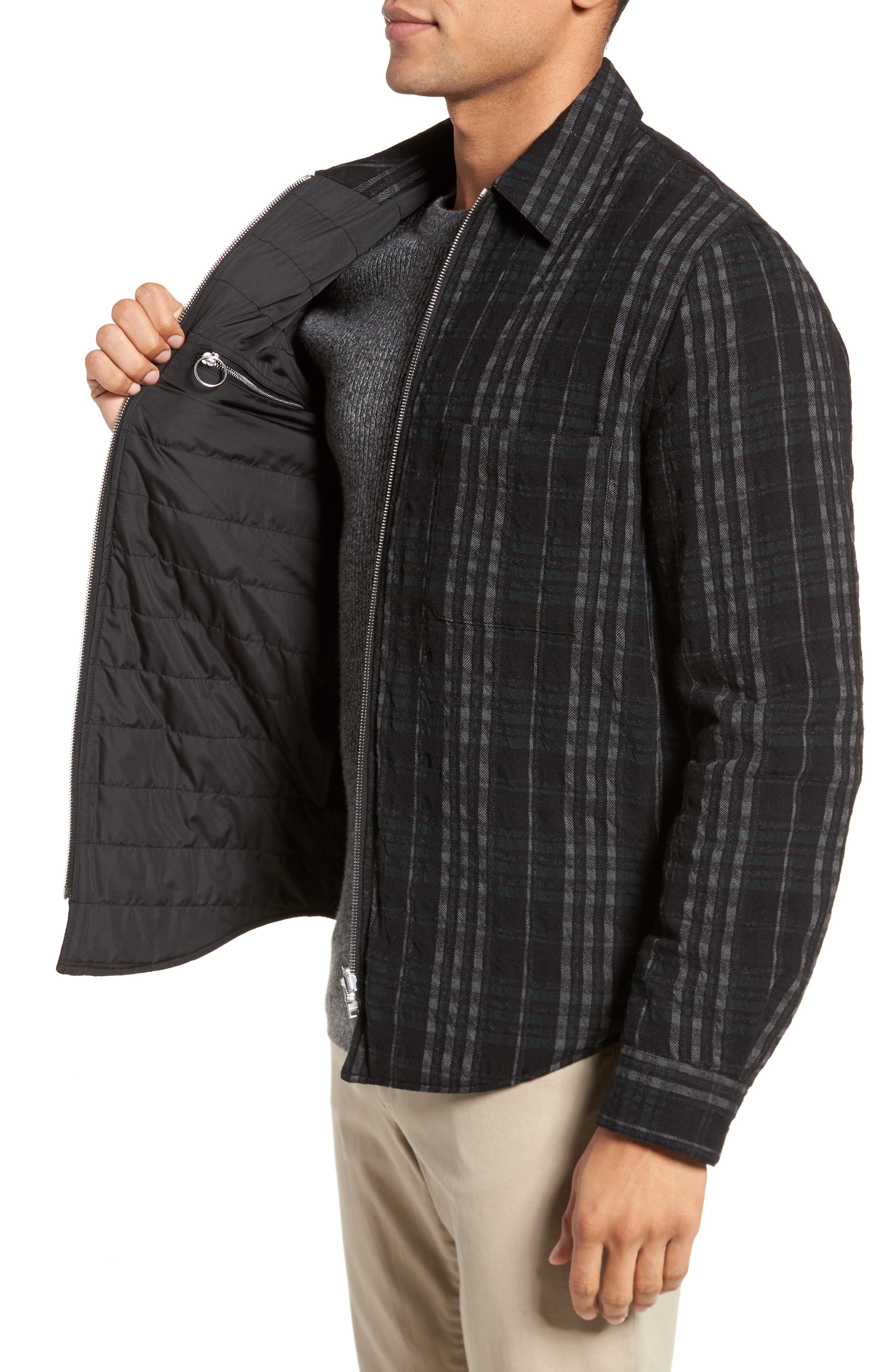 Wooly Reversible Zip Front Shirt Jacket,                             Alternate thumbnail 4, color,                             Black Multi