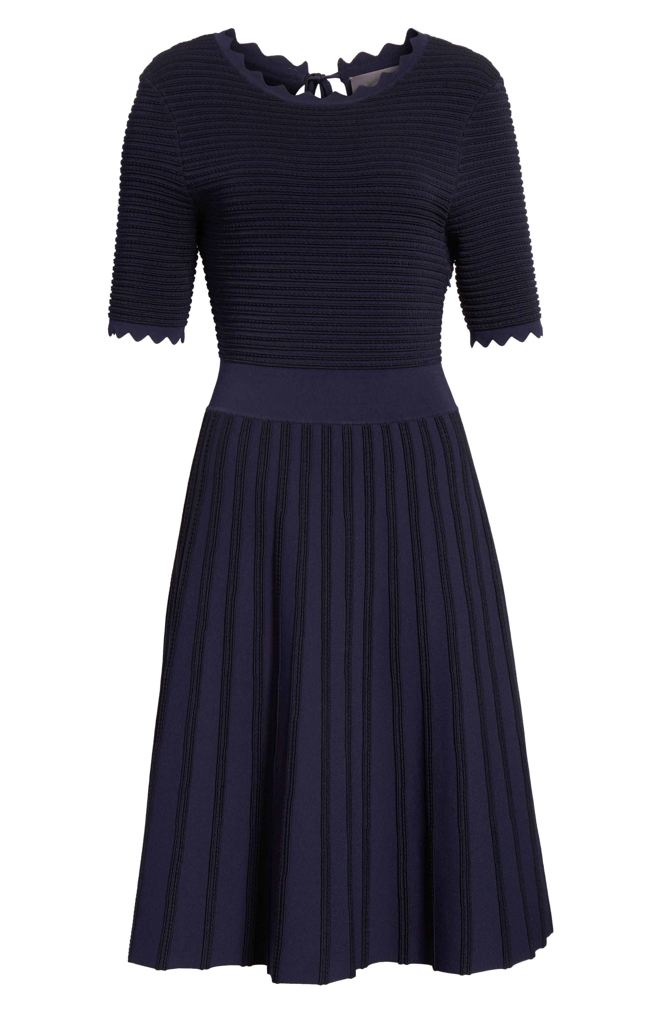 Scallop Trim Stripe Dress,                             Alternate thumbnail 8, color,                             Navy