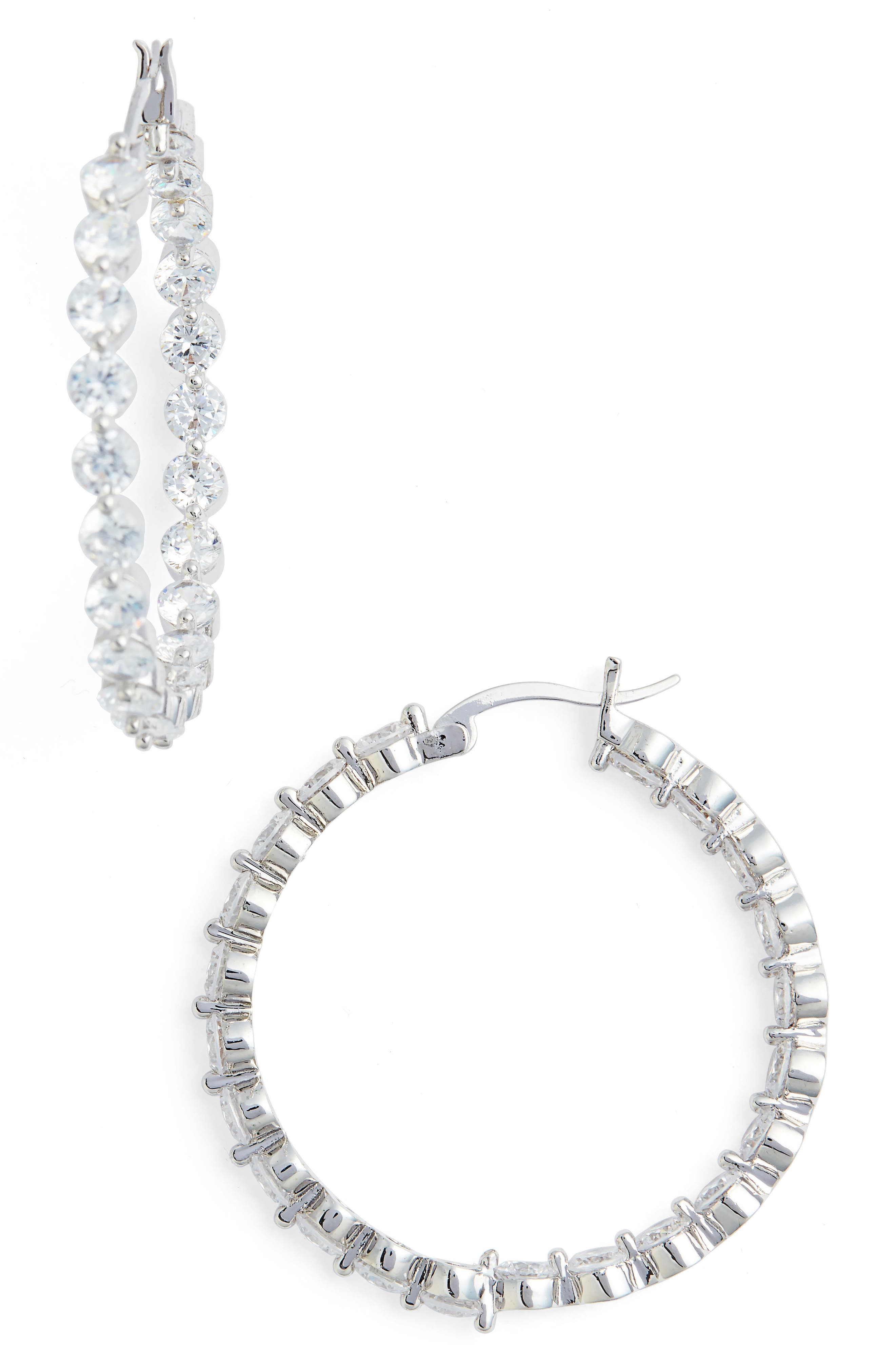 Large Cubic Zirconia Hoop Earrings.,                         Main,                         color, Silver/ White Cz
