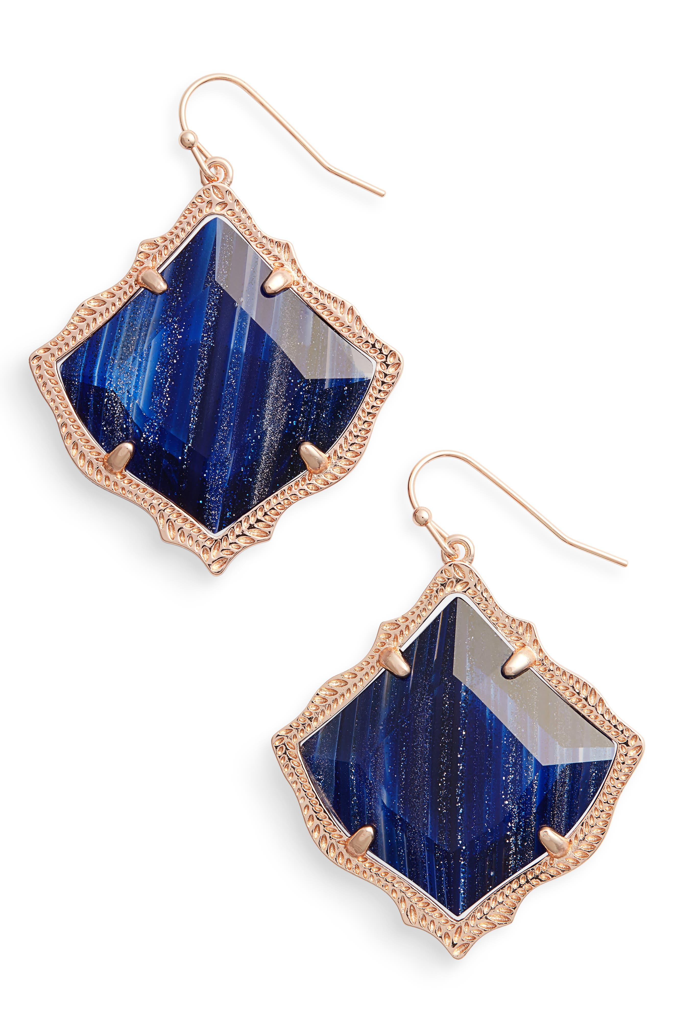 Kirsten Drop Earrings,                         Main,                         color, Navy Dusted Glass/ Rose Gold