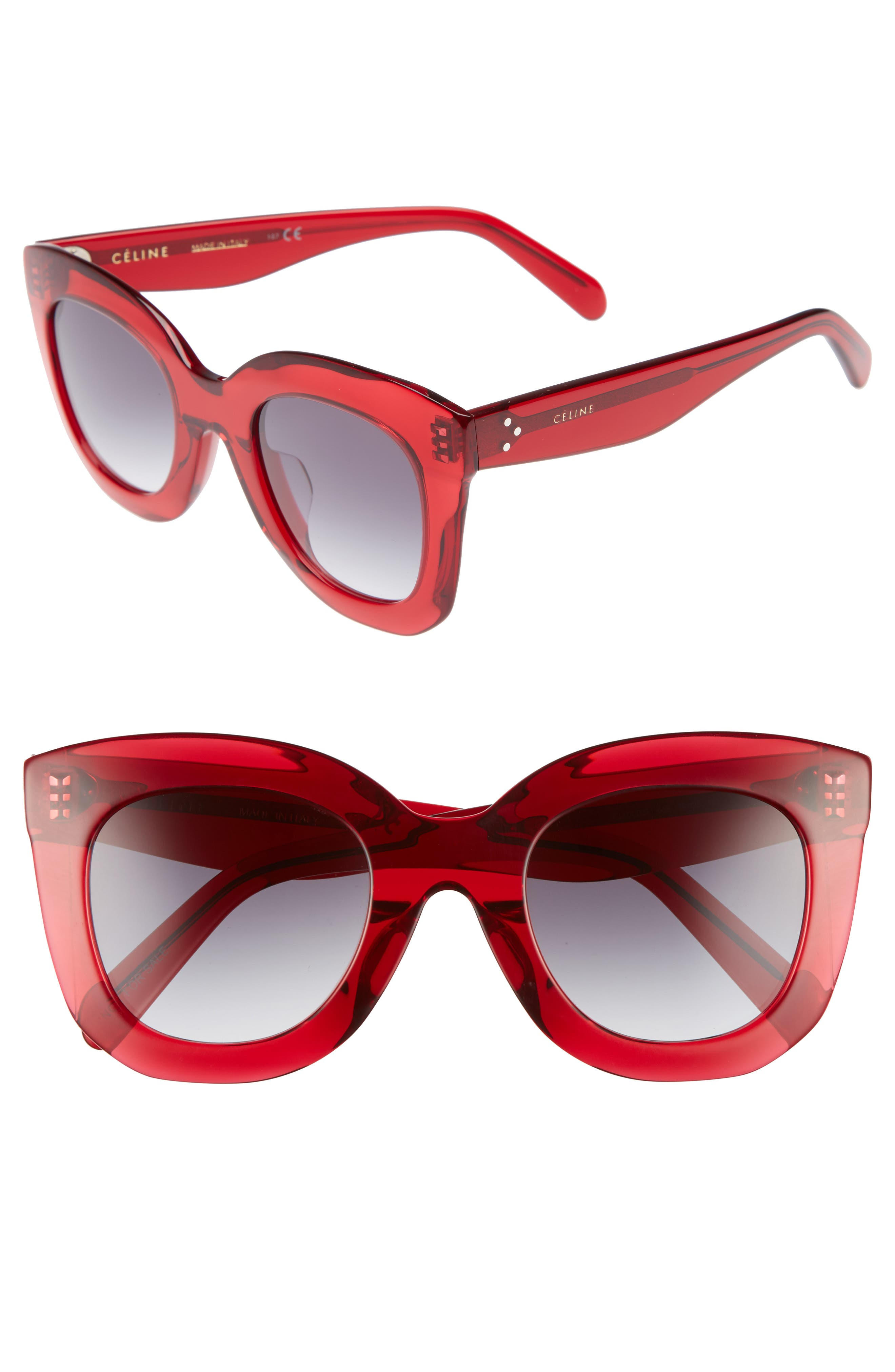 Special Fit 49mm Cat Eye Sunglasses,                             Main thumbnail 1, color,                             Red/ Smoke