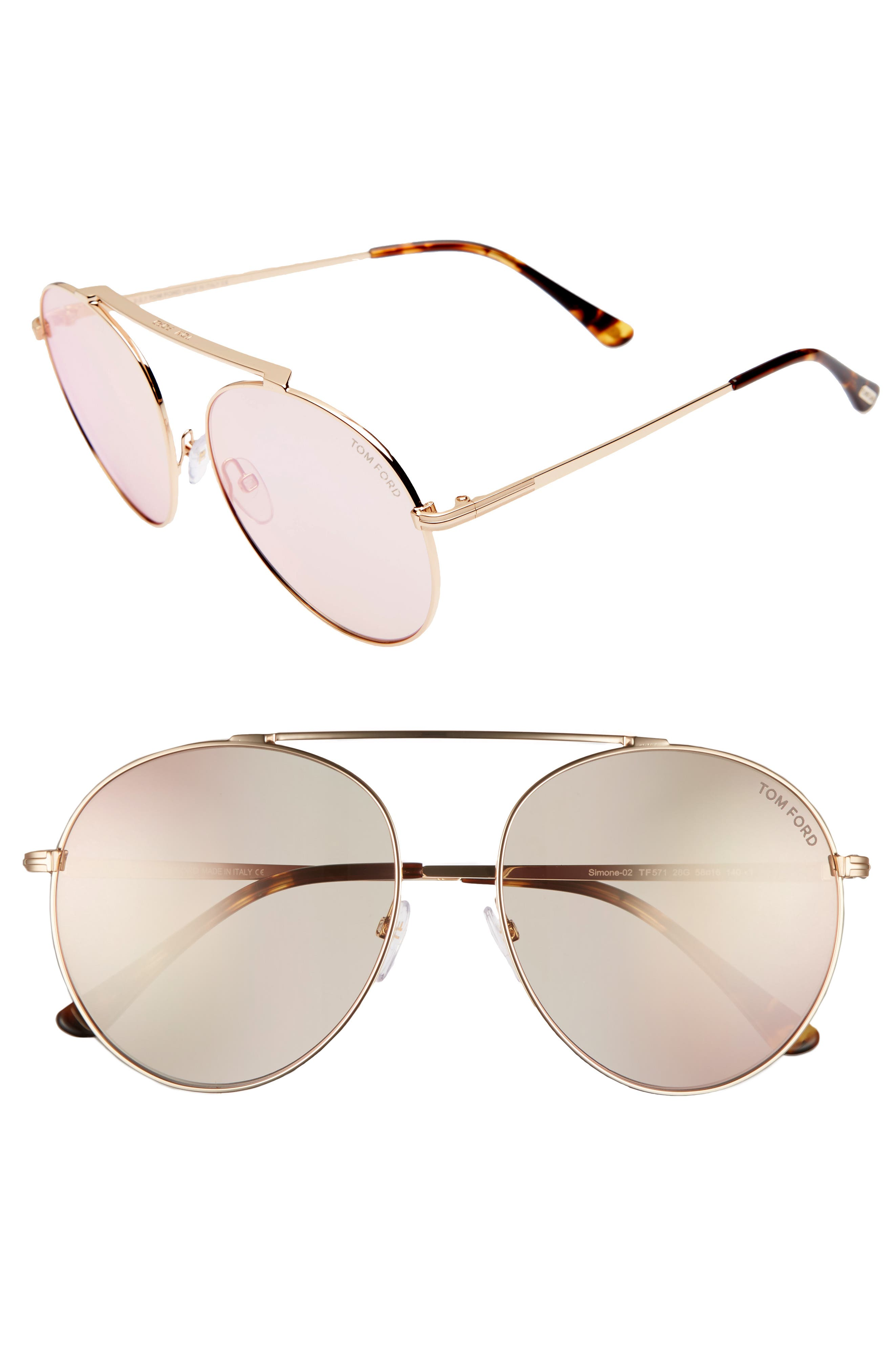 Simone 58mm Gradient Mirrored Round Sunglasses,                         Main,                         color, Rose Gold/ Light Brown Flash
