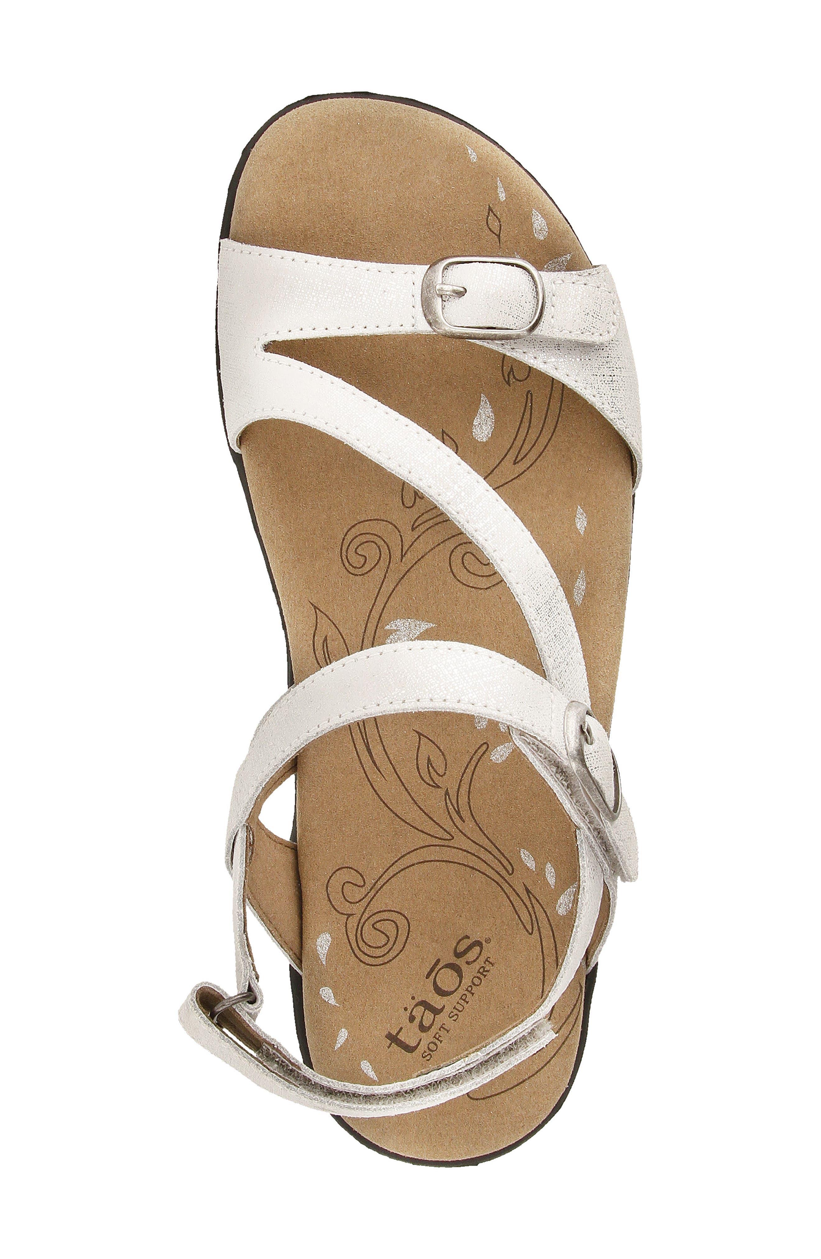 Beauty Sandal,                             Alternate thumbnail 4, color,                             White Metallic Leather